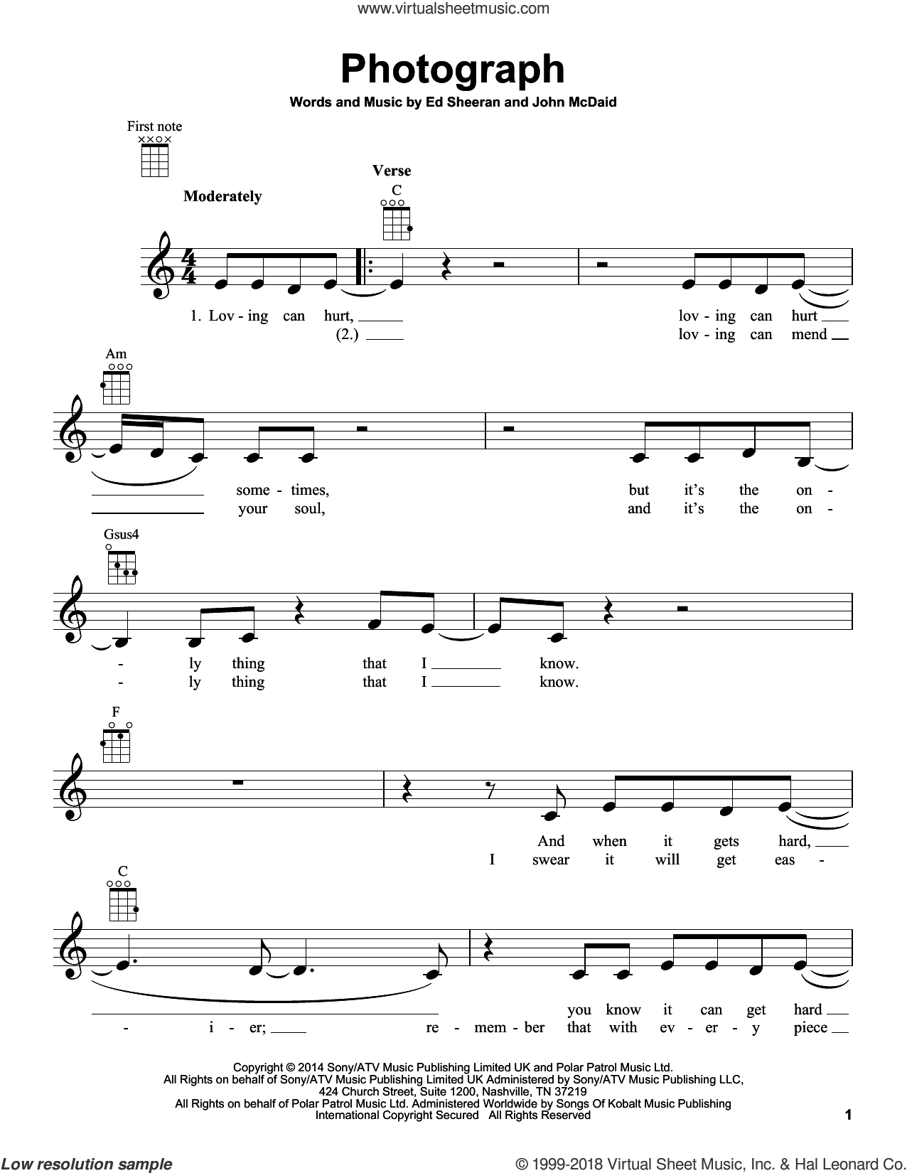 Photograph sheet music for ukulele by Ed Sheeran and John McDaid, intermediate skill level