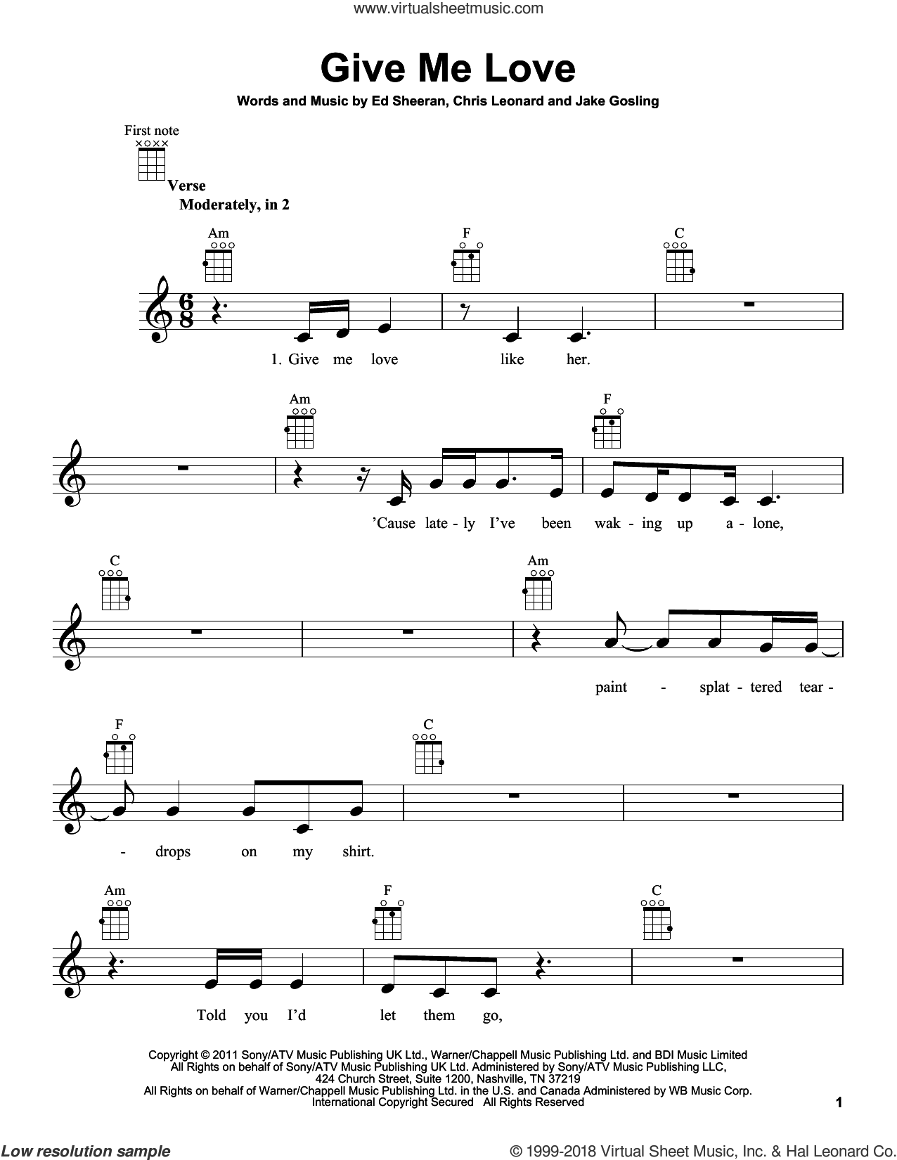 Give Me Love sheet music for ukulele by Ed Sheeran, Chris Leonard and Jake Gosling, intermediate skill level