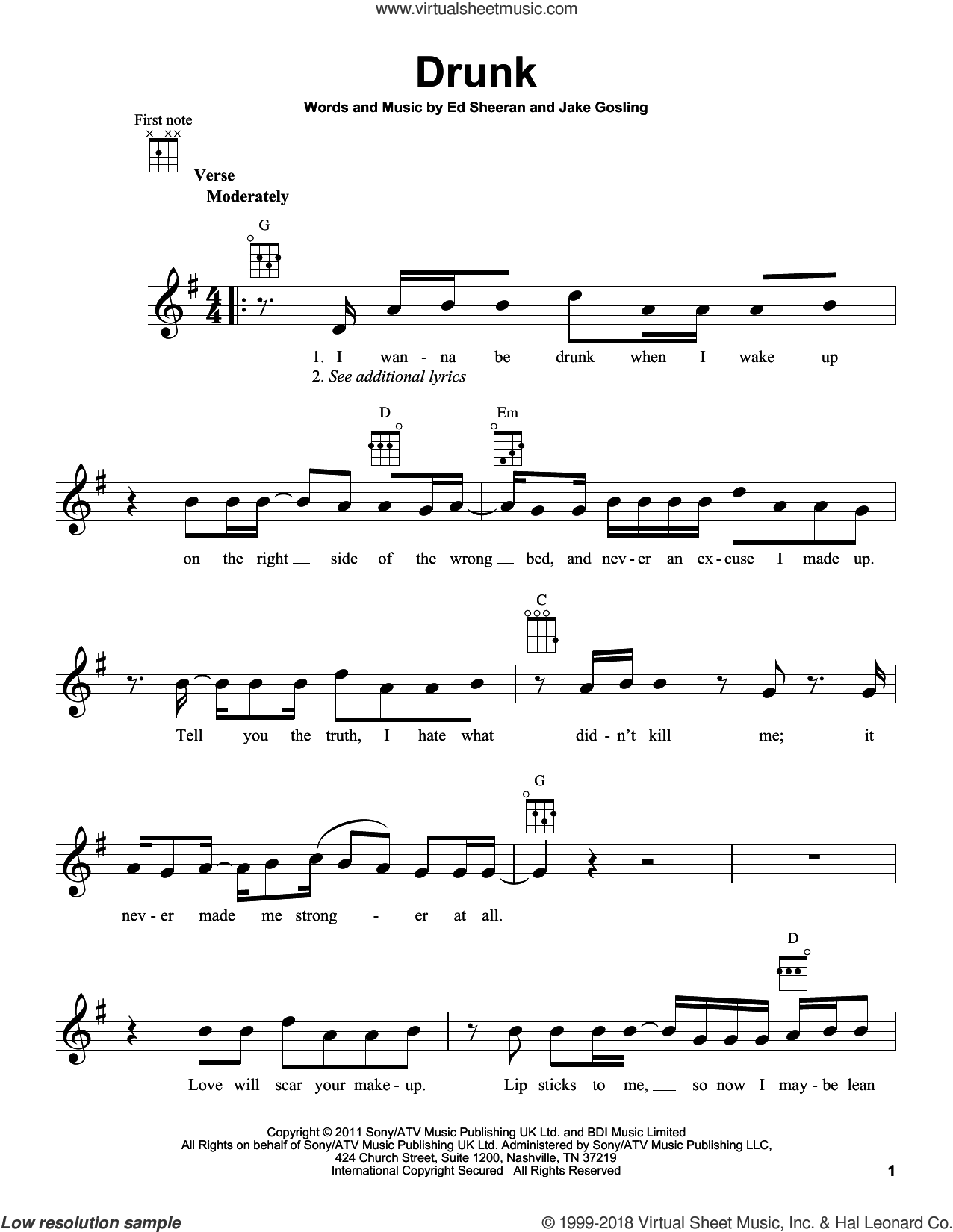 Drunk sheet music for ukulele by Jake Gosling and Ed Sheeran. Score Image Preview.