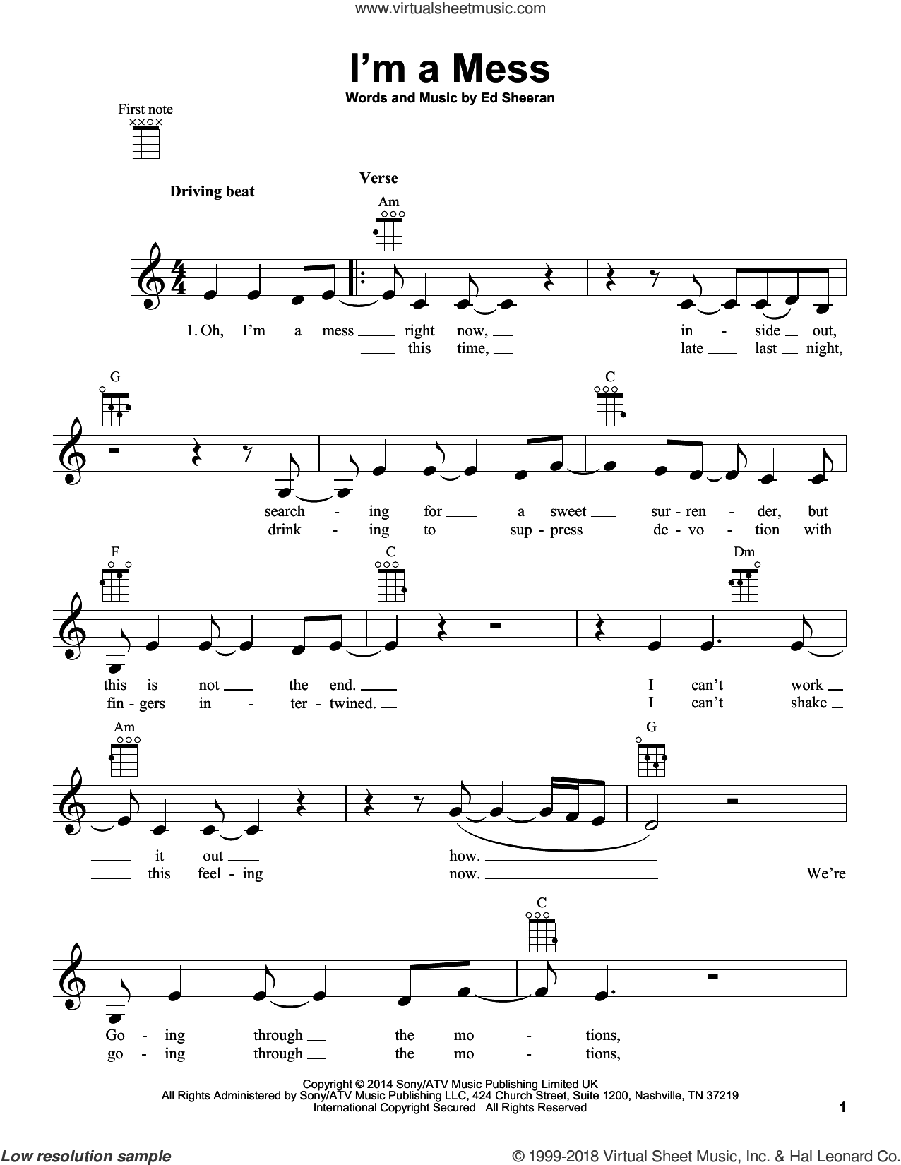 I'm A Mess sheet music for ukulele by Ed Sheeran. Score Image Preview.