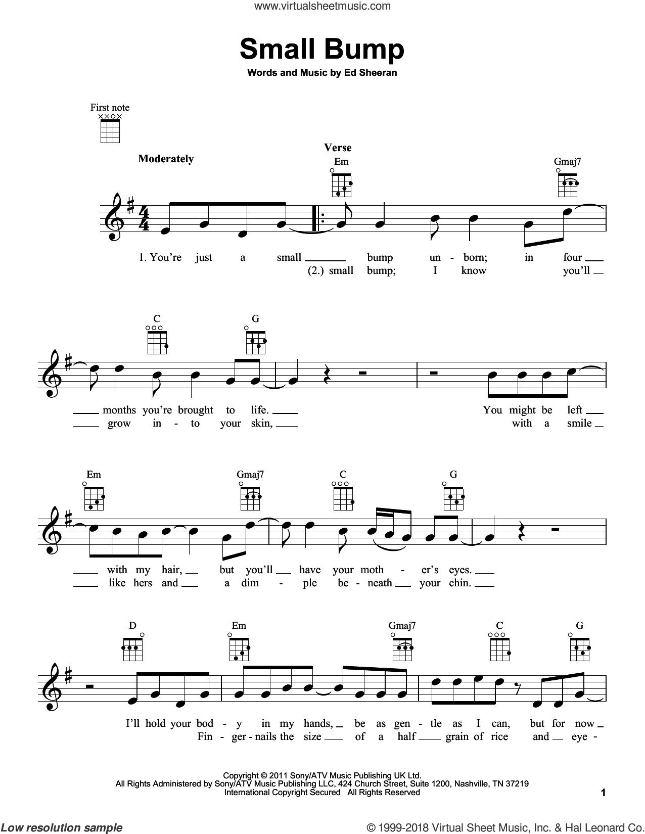 Small Bump sheet music for ukulele by Ed Sheeran, intermediate skill level