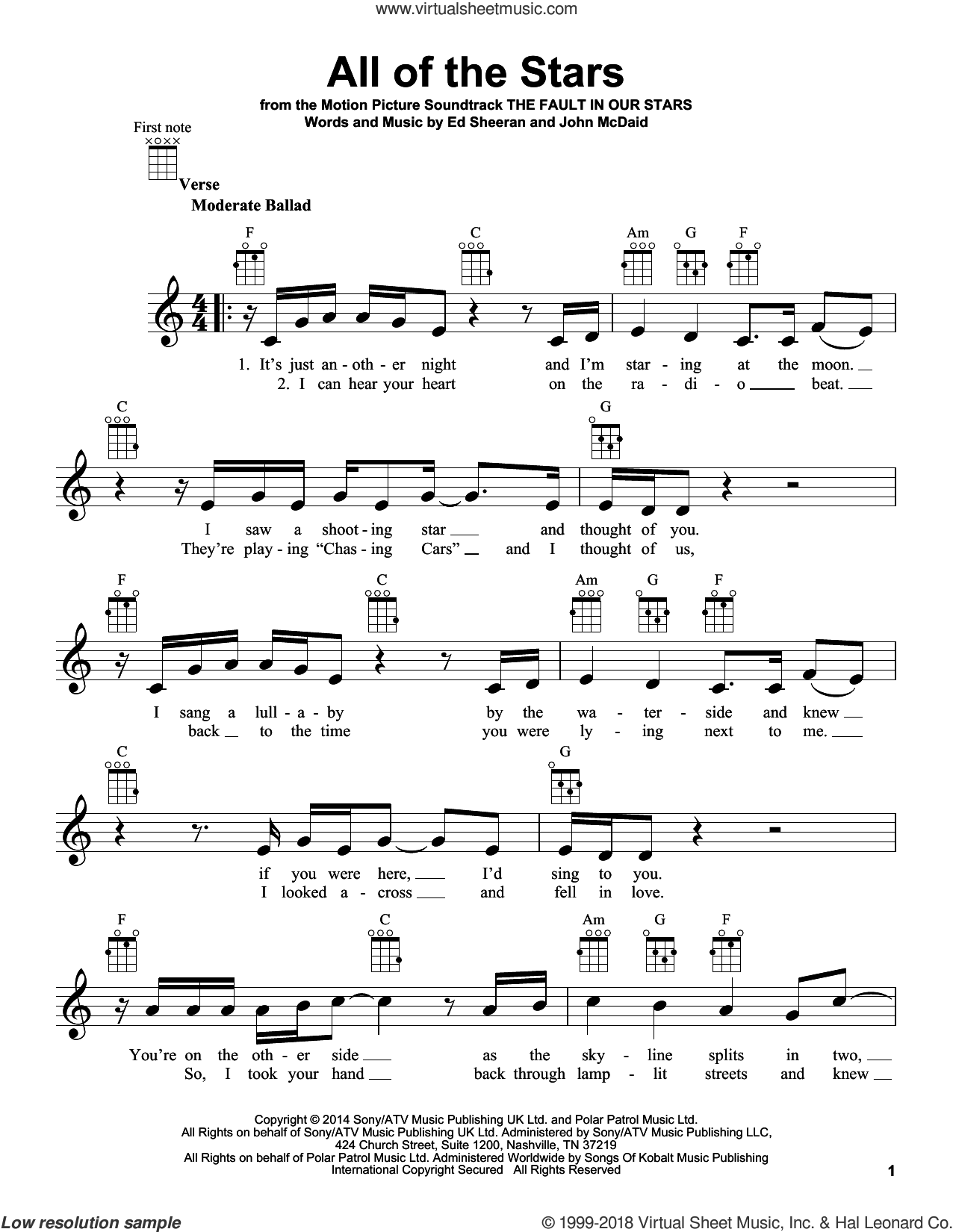 All Of The Stars sheet music for ukulele by Ed Sheeran and John McDaid, intermediate skill level
