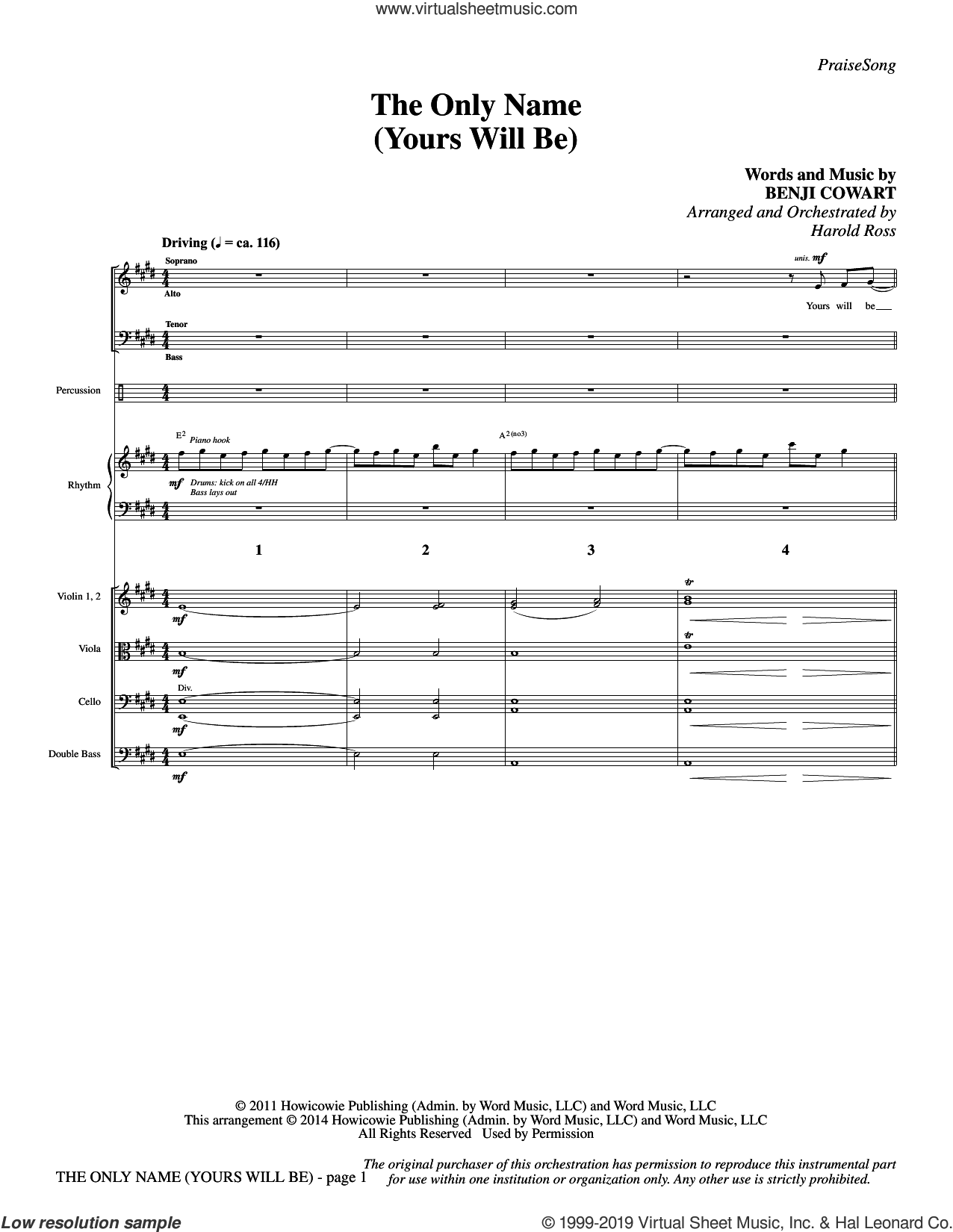 The Only Name (Yours Will Be) (COMPLETE) sheet music for orchestra/band by Harold Ross, Benji Cowart and Big Daddy Weave, intermediate skill level