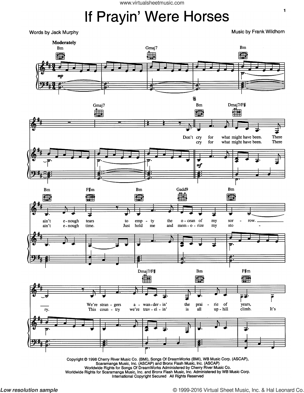 If Prayin' Were Horses sheet music for voice, piano or guitar by Frank Wildhorn and Jack Murphy, intermediate skill level