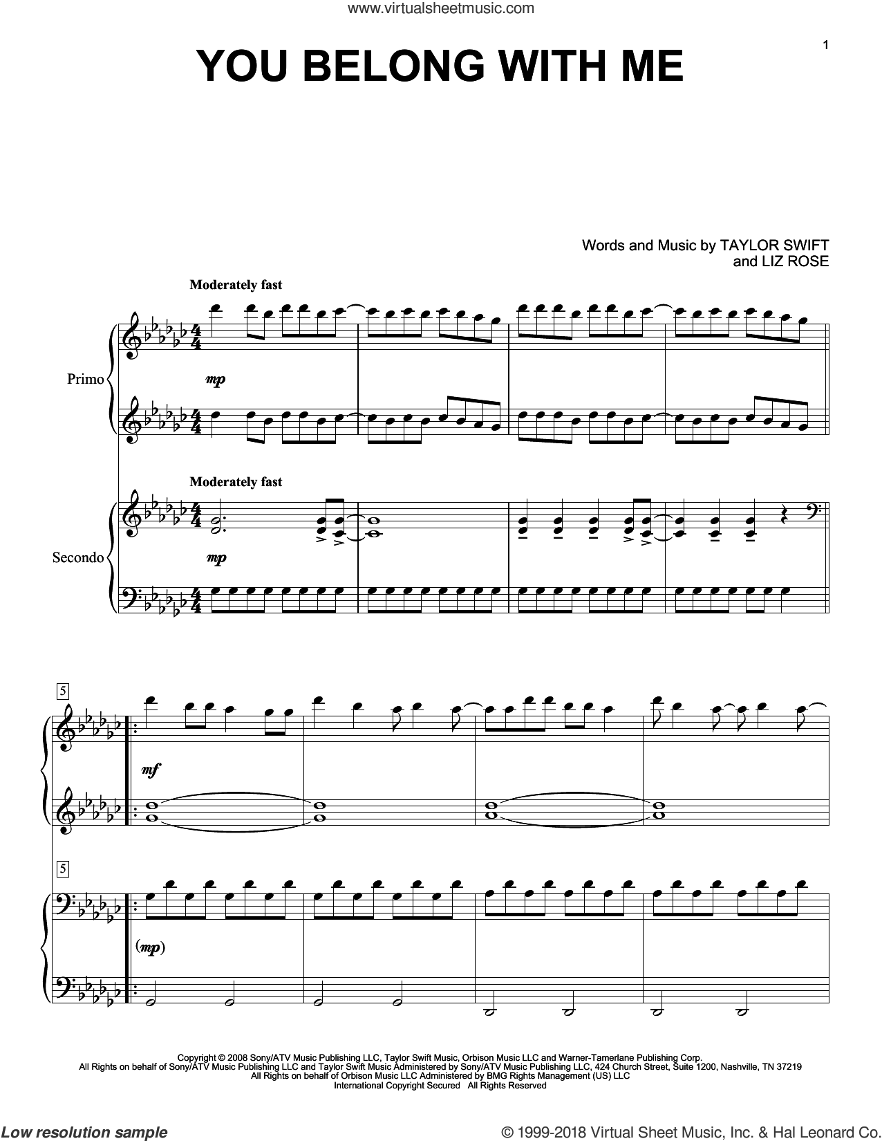 You Belong With Me sheet music for piano four hands by Taylor Swift and Liz Rose, intermediate skill level