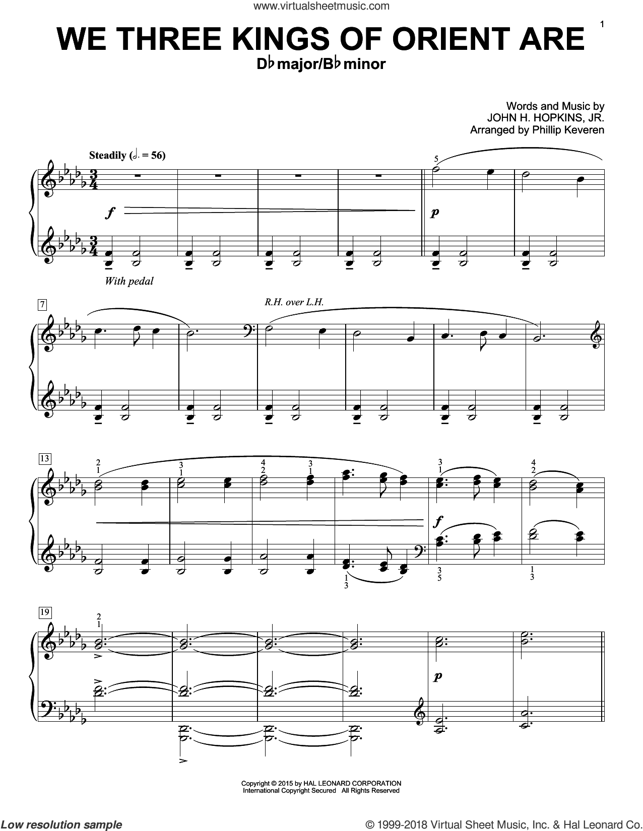 We Three Kings Of Orient Are sheet music for piano solo by Phillip Keveren and John H. Hopkins, Jr.. Score Image Preview.