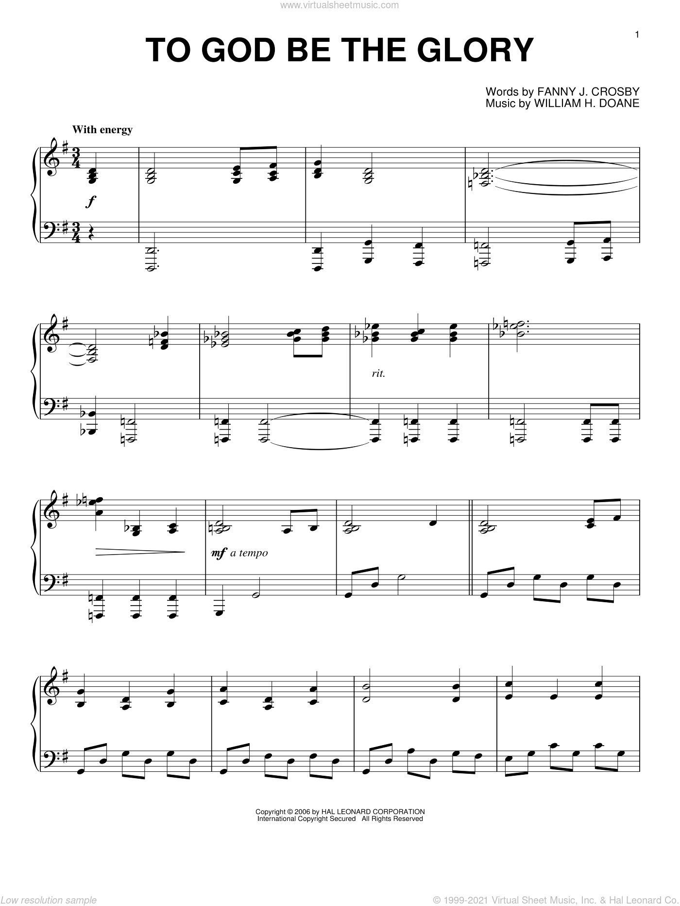 To God Be The Glory sheet music for piano solo by Fanny J. Crosby and William H. Doane, intermediate skill level