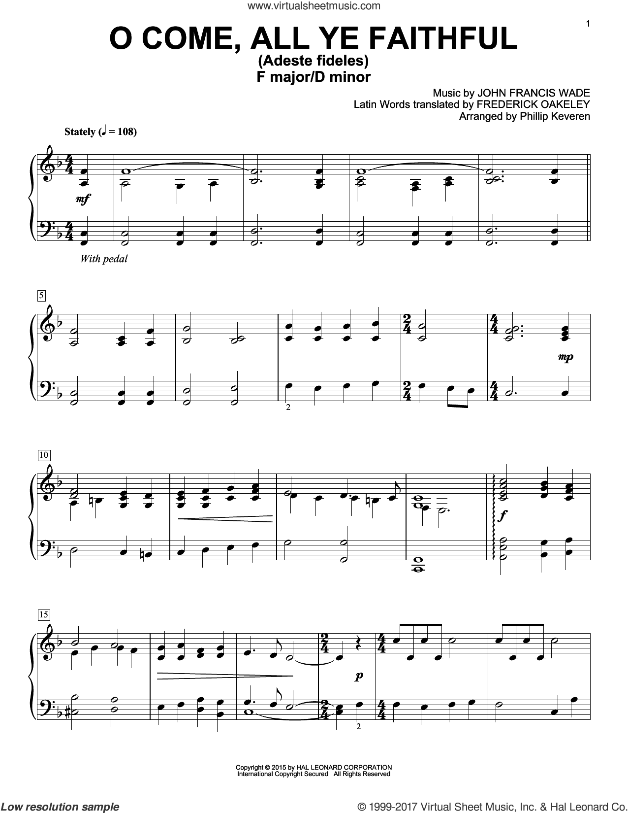 O Come, All Ye Faithful (Adeste Fideles) sheet music for piano solo by Phillip Keveren, Frederick Oakeley and John Francis Wade, intermediate skill level