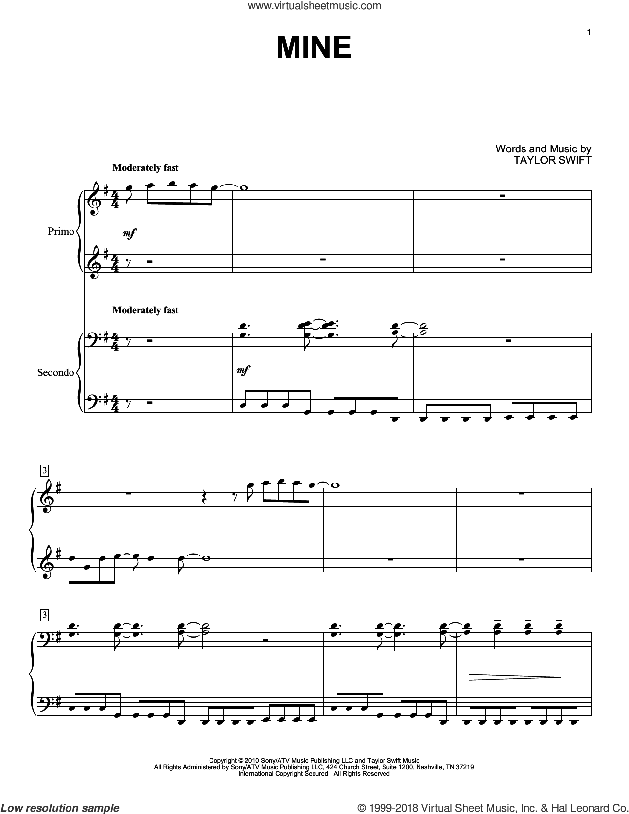 Mine sheet music for piano four hands (duets) by Taylor Swift. Score Image Preview.