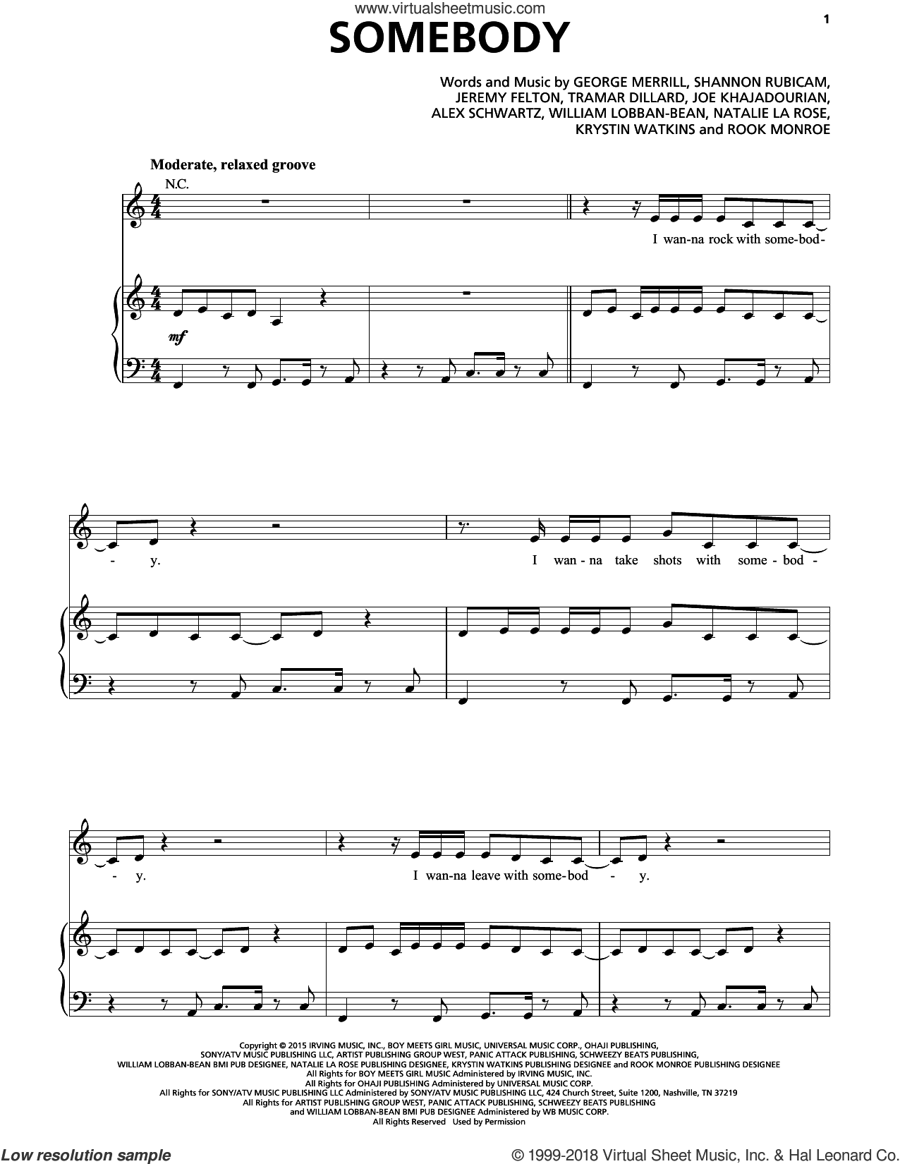 Somebody sheet music for voice, piano or guitar by Natalie La Rose feat. Jeremih, Alex Schwartz, Jeremih Felton, Joe Khajadourian, Krystin Watkins, Natalie La Rose, Tramar Dillard and William Lobban-Bean, intermediate. Score Image Preview.