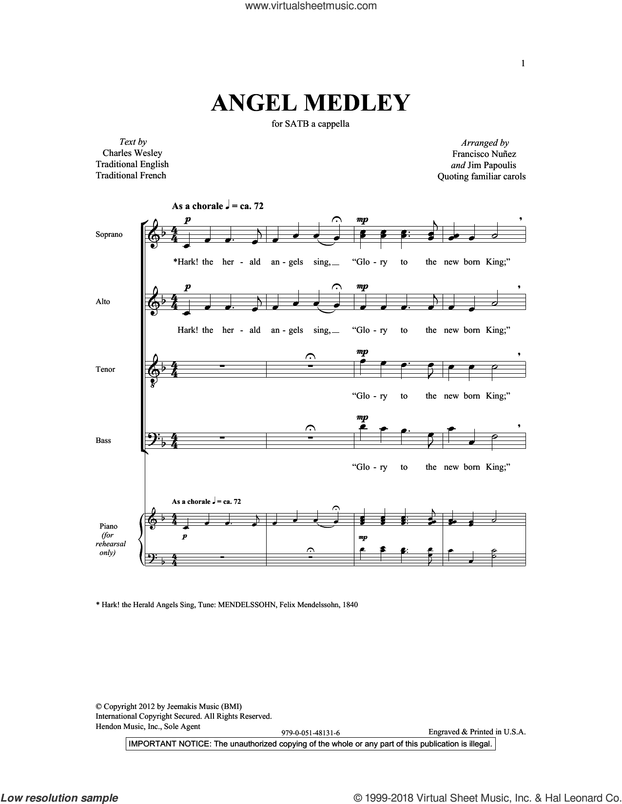 Angel Medley (from Coolside of Yuletide) sheet music for choir and piano (SATB) by Francisco J. Nuñez. Score Image Preview.