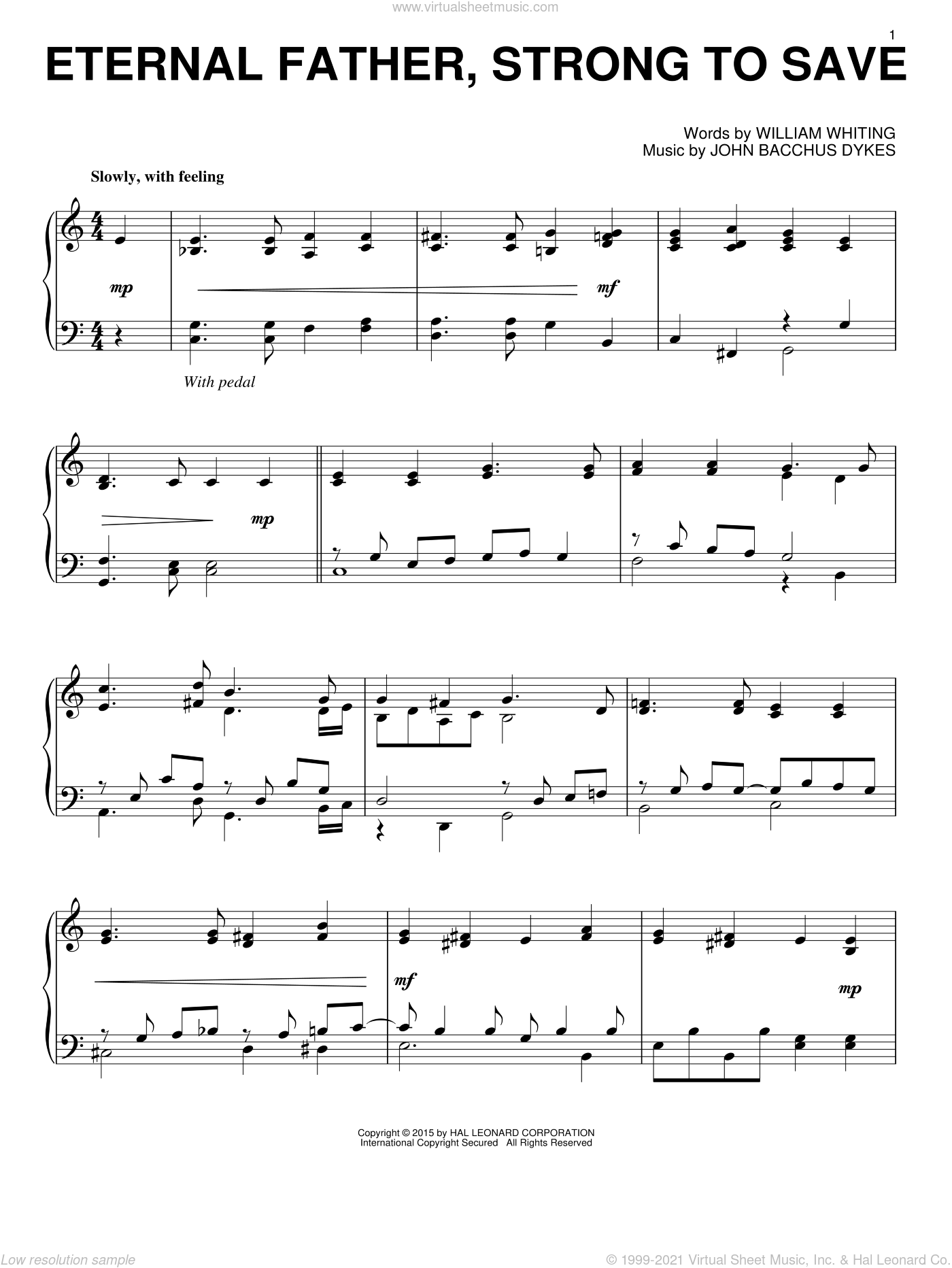Eternal Father, Strong To Save sheet music for piano solo by William Whiting and John Bacchus Dykes. Score Image Preview.