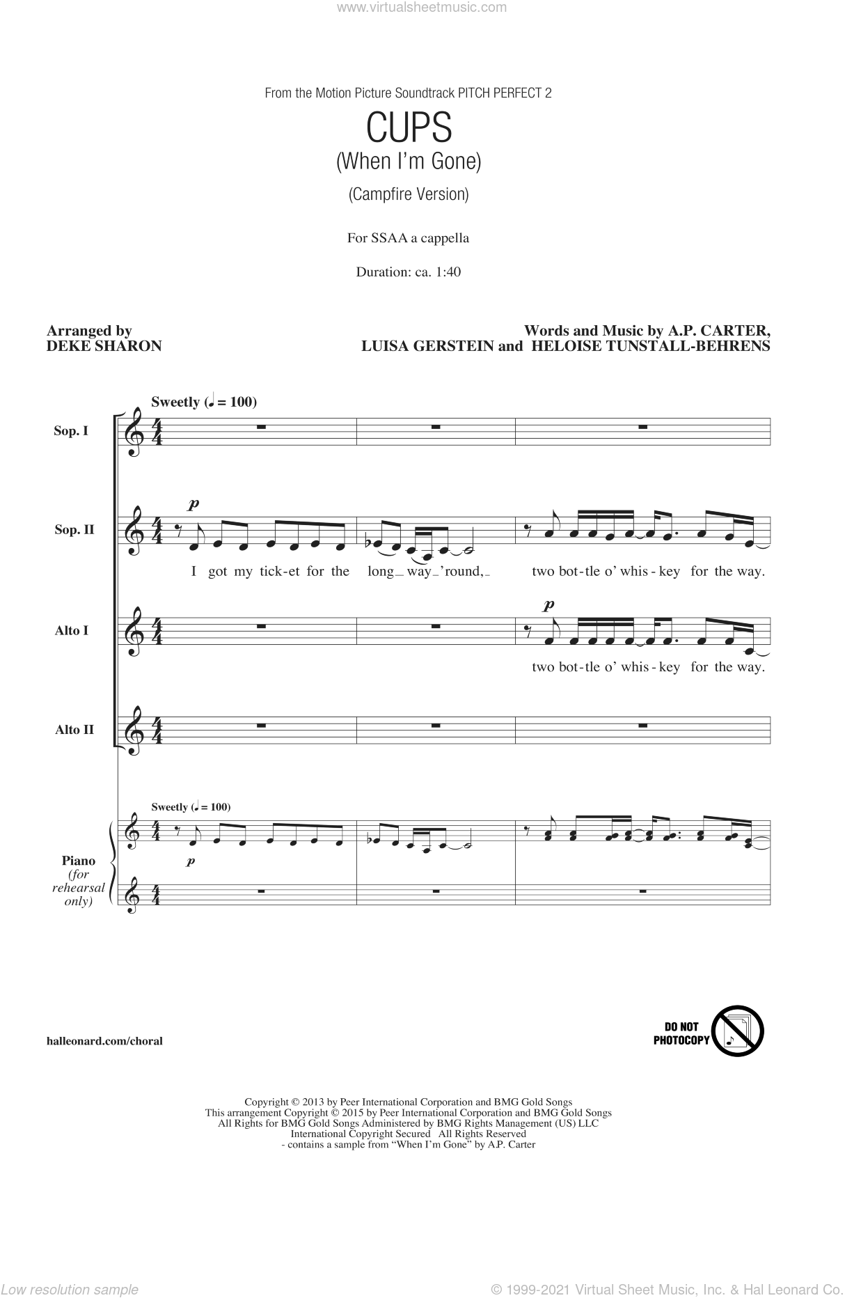 Cups (When I'm Gone) sheet music for choir (soprano voice, alto voice, choir) by Deke Sharon, A.P. Carter, Anna Kendrick and Luisa Gerstein. Score Image Preview.