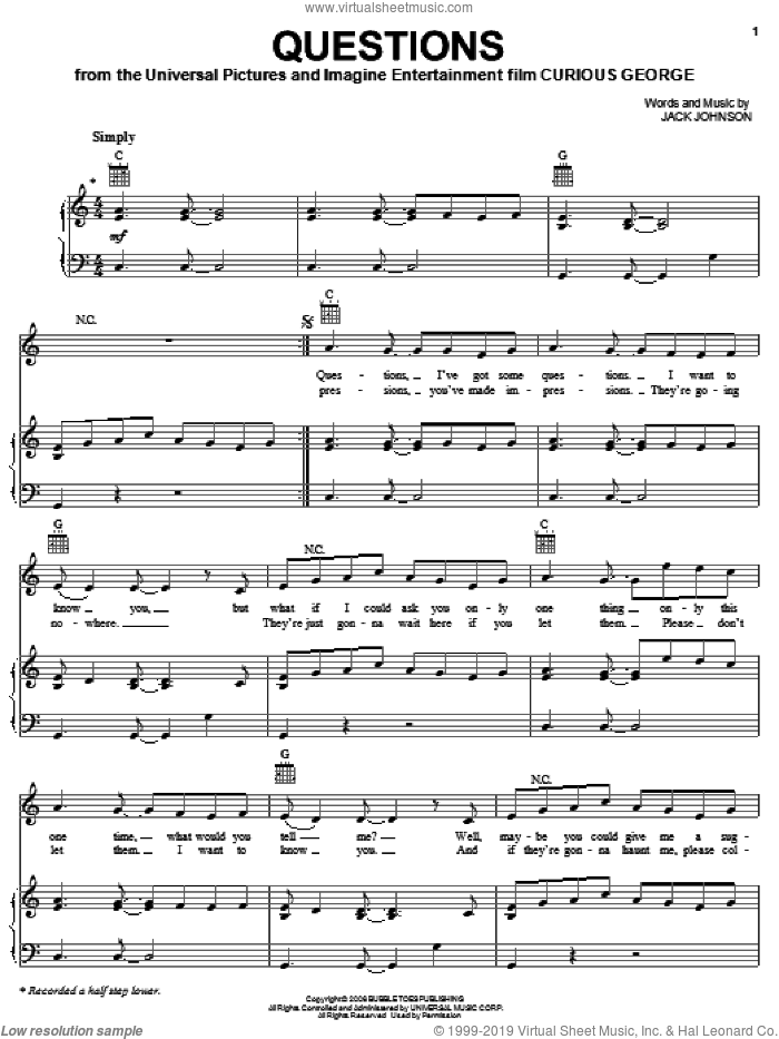 Questions sheet music for voice, piano or guitar by Jack Johnson. Score Image Preview.