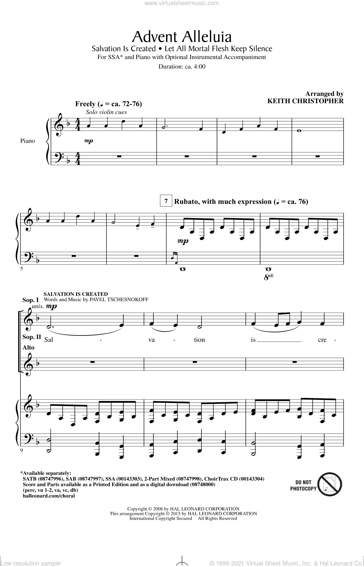 Advent Alleluia sheet music for choir (SSA: soprano, alto) by Keith Christopher and Pavel Tschesnokoff, intermediate skill level