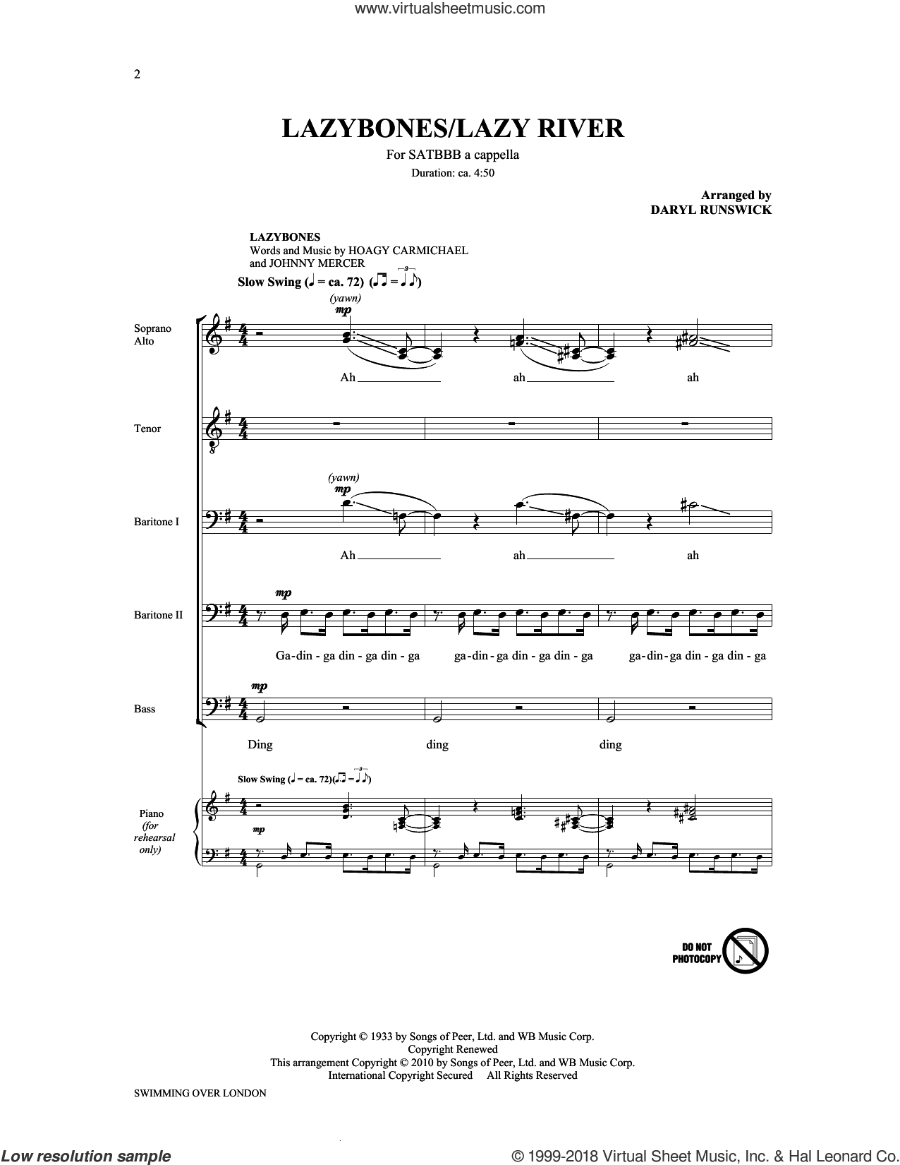 Lazybones/Lazy River from Swimming Over London (Collection) sheet music for choir (SATBBB) by The King's Singers. Score Image Preview.