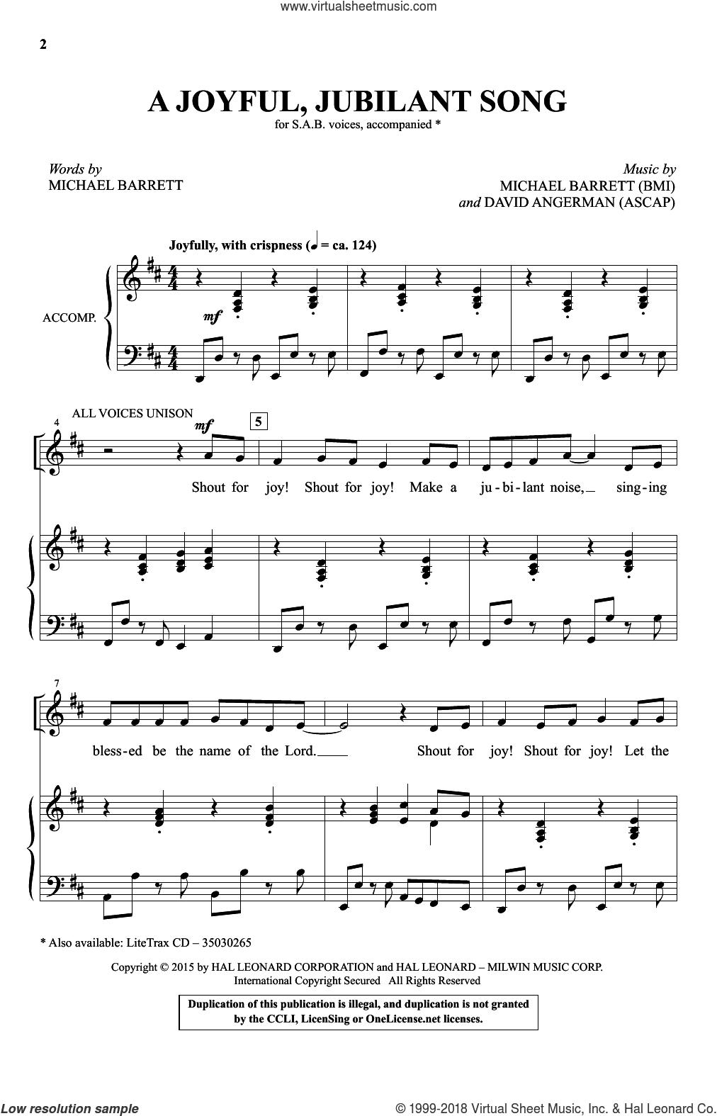 A Joyful, Jubilant Song sheet music for choir (SAB: soprano, alto, bass) by Michael Barrett and David Angerman, intermediate skill level