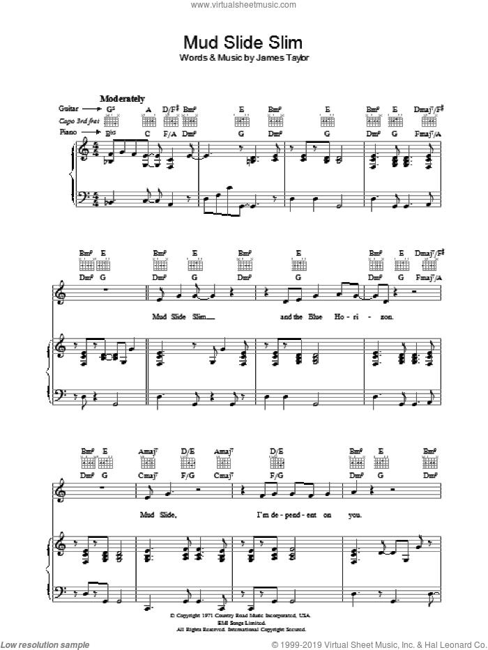 Mud Slide Slim sheet music for voice, piano or guitar by James Taylor. Score Image Preview.