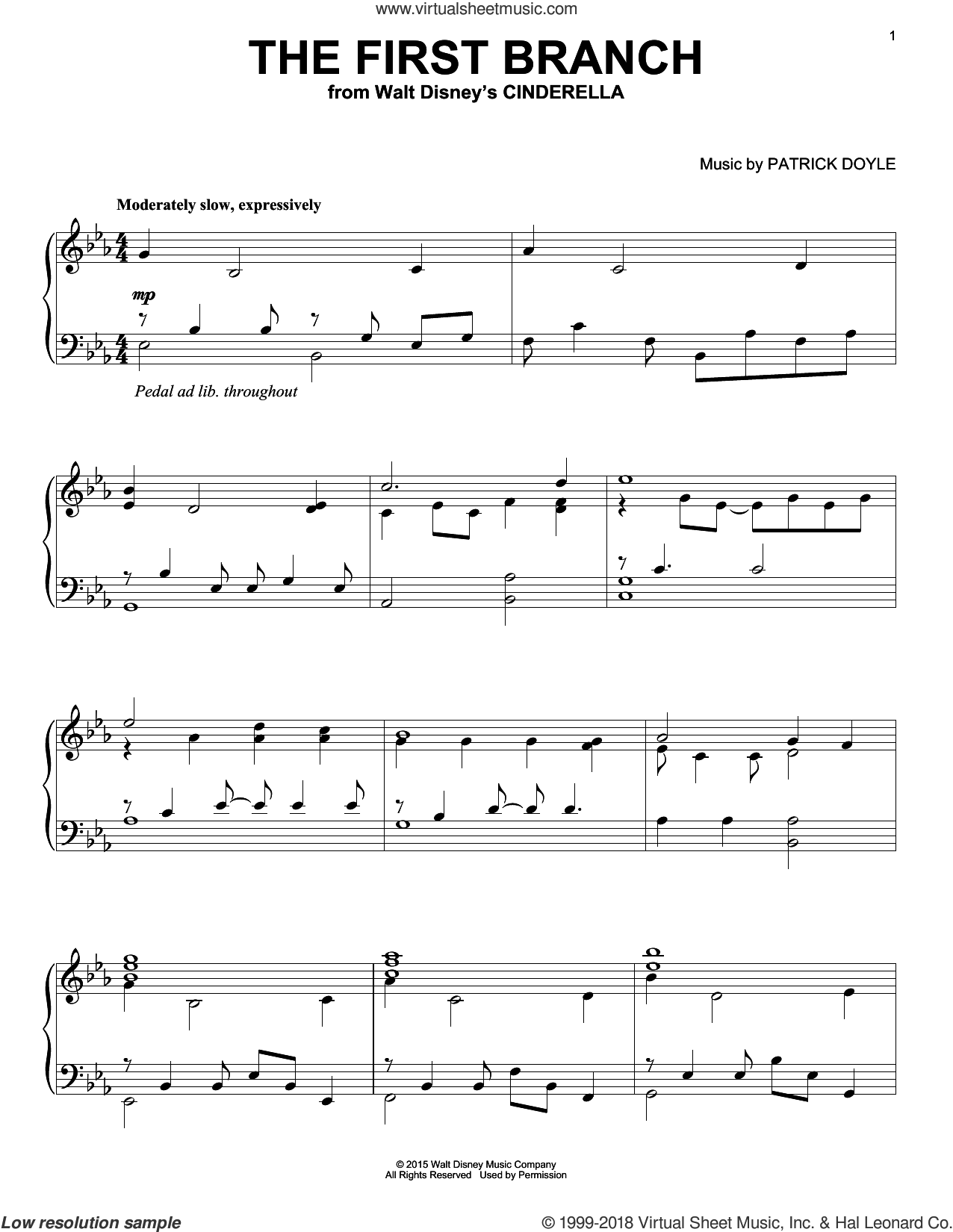 The First Branch sheet music for piano solo by Patrick Doyle, intermediate skill level
