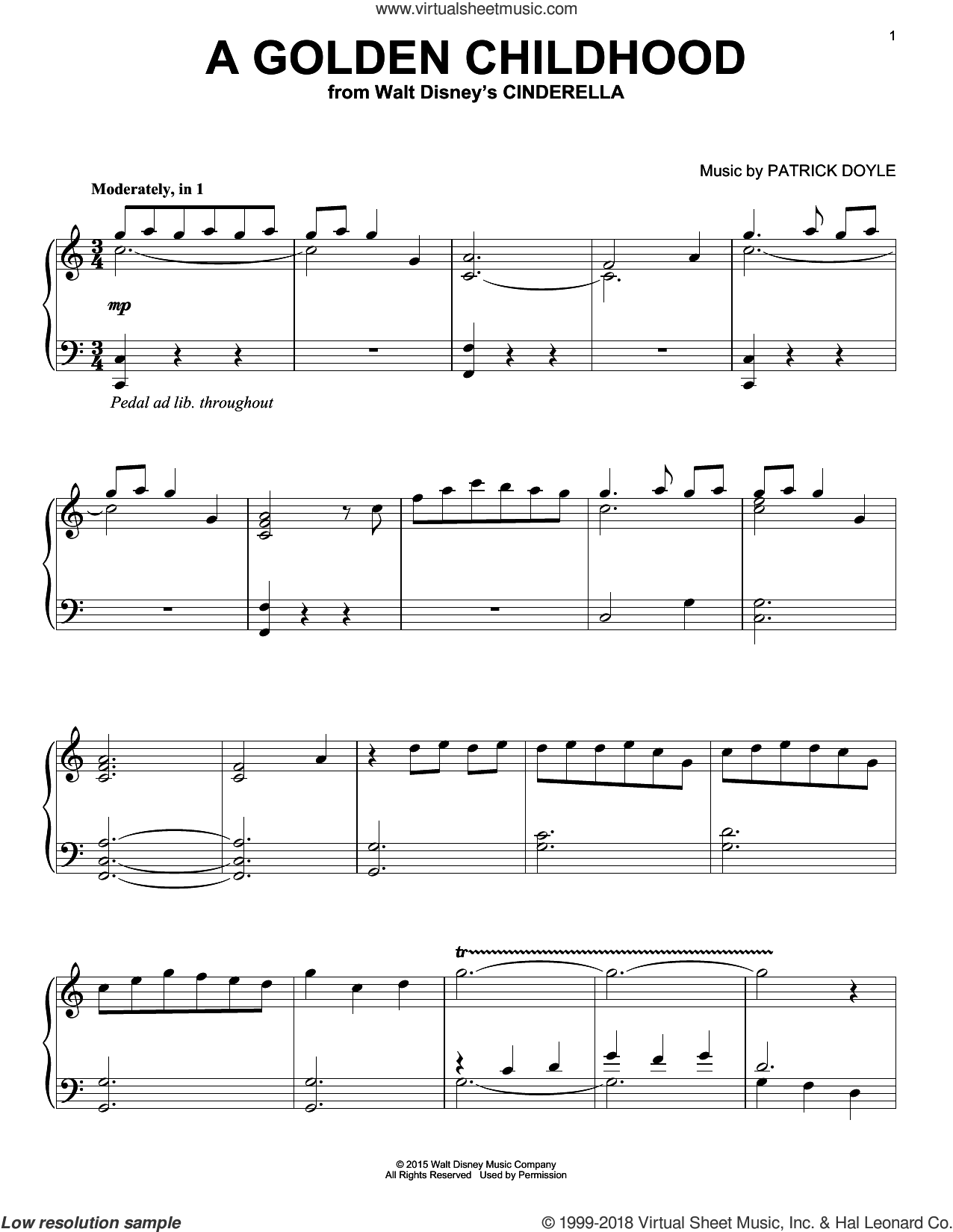 A Golden Childhood sheet music for piano solo by Patrick Doyle, intermediate skill level