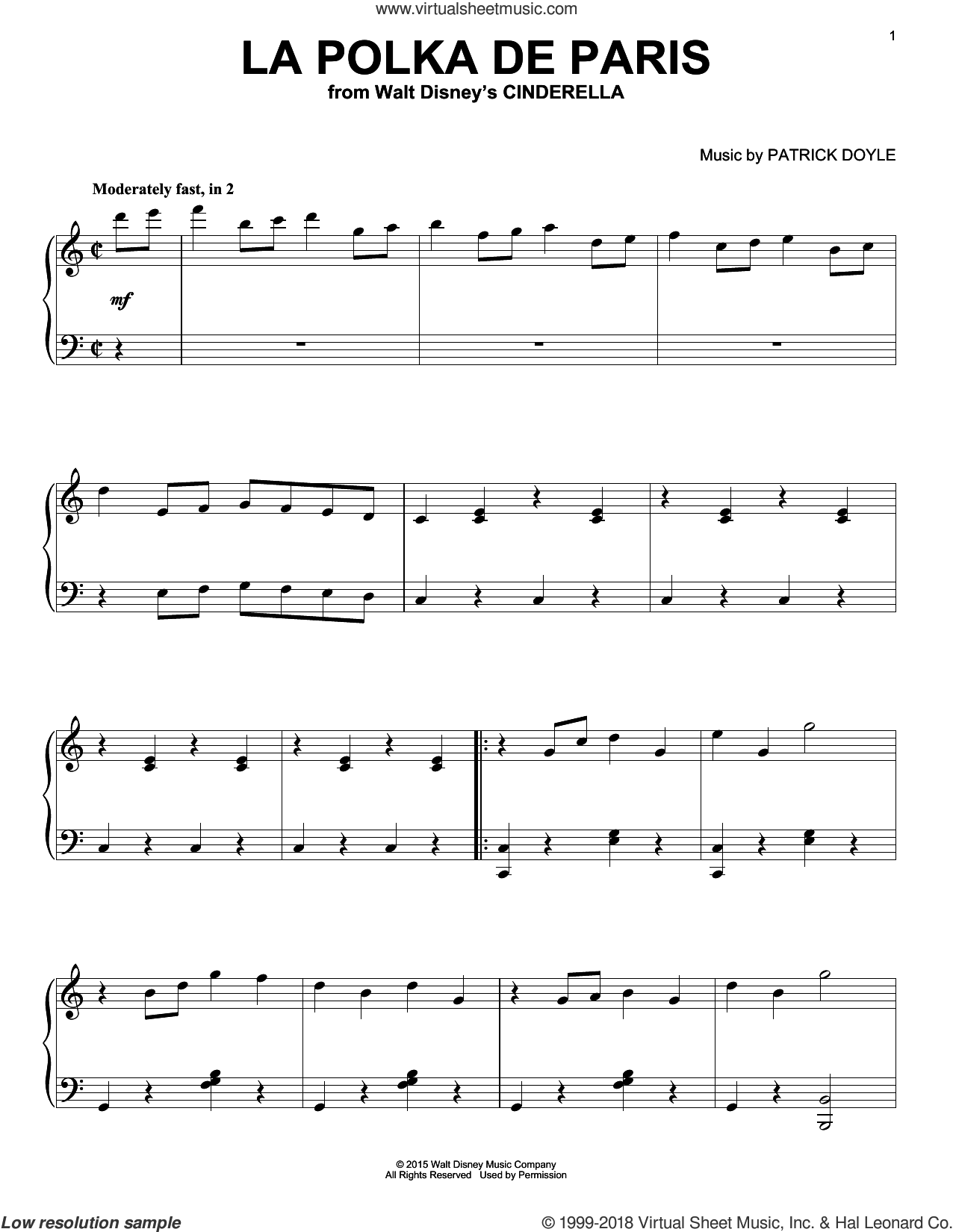 La Polka De Paris sheet music for piano solo by Patrick Doyle, intermediate skill level
