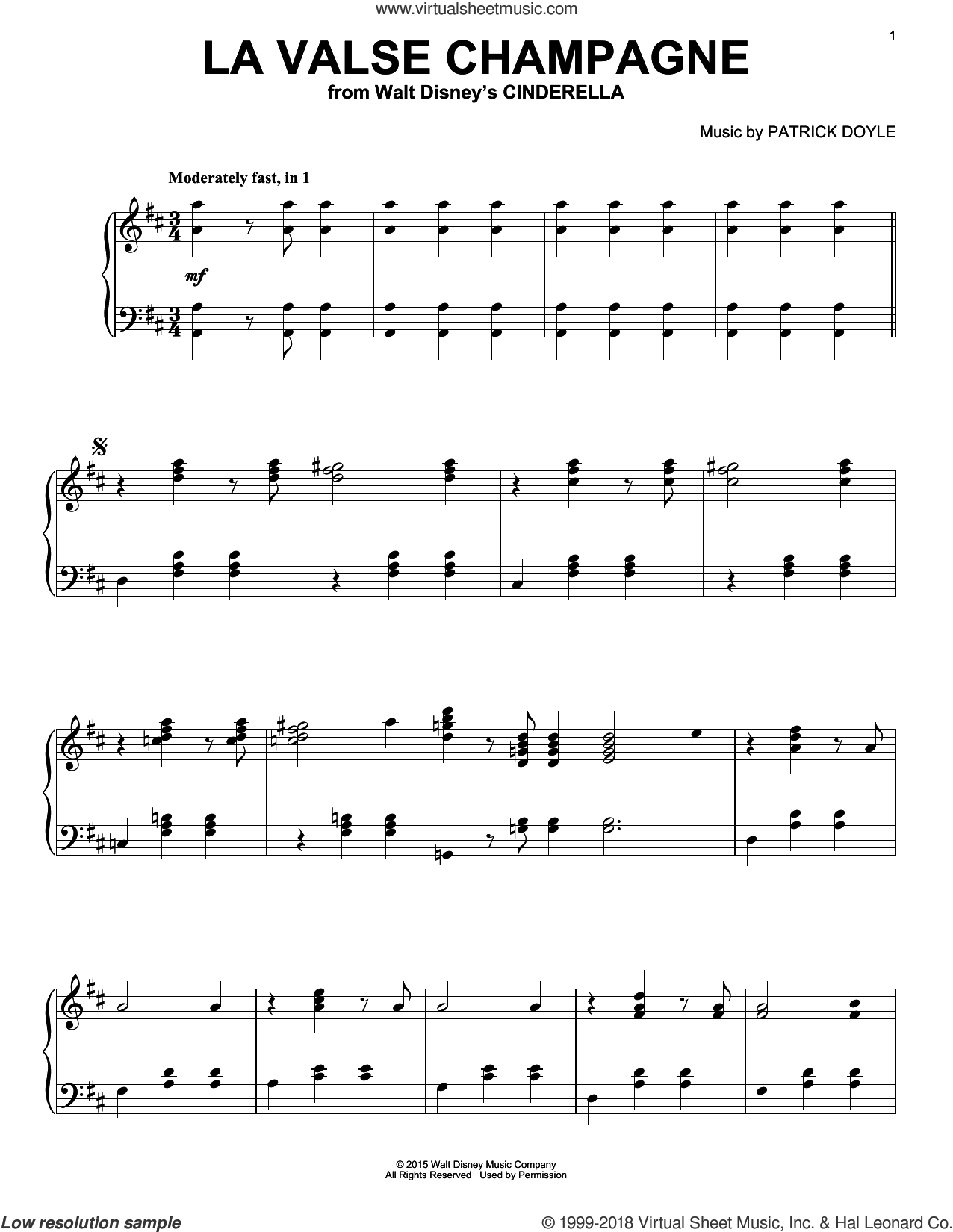 La Valse Champagne sheet music for piano solo by Patrick Doyle. Score Image Preview.