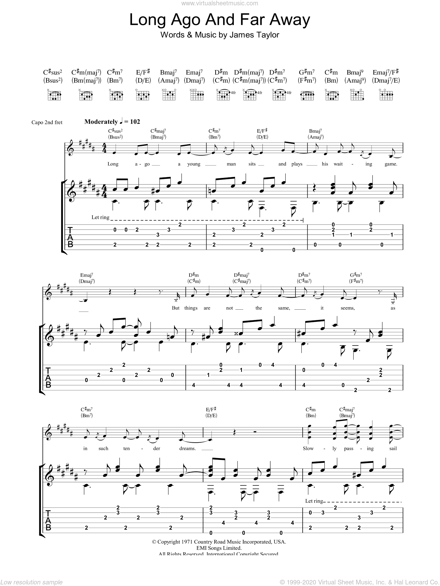 Long Ago And Far Away sheet music for guitar (tablature) by James Taylor. Score Image Preview.