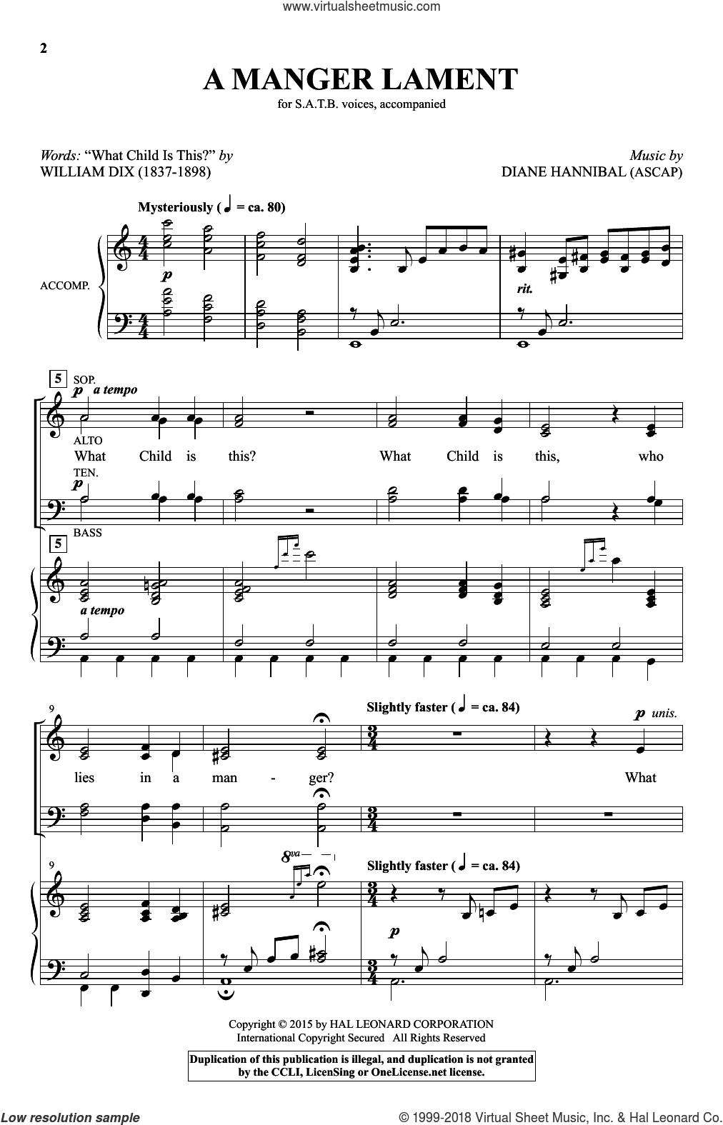A Manger Lament sheet music for choir (SATB) by Diane Hannibal and William Dix. Score Image Preview.