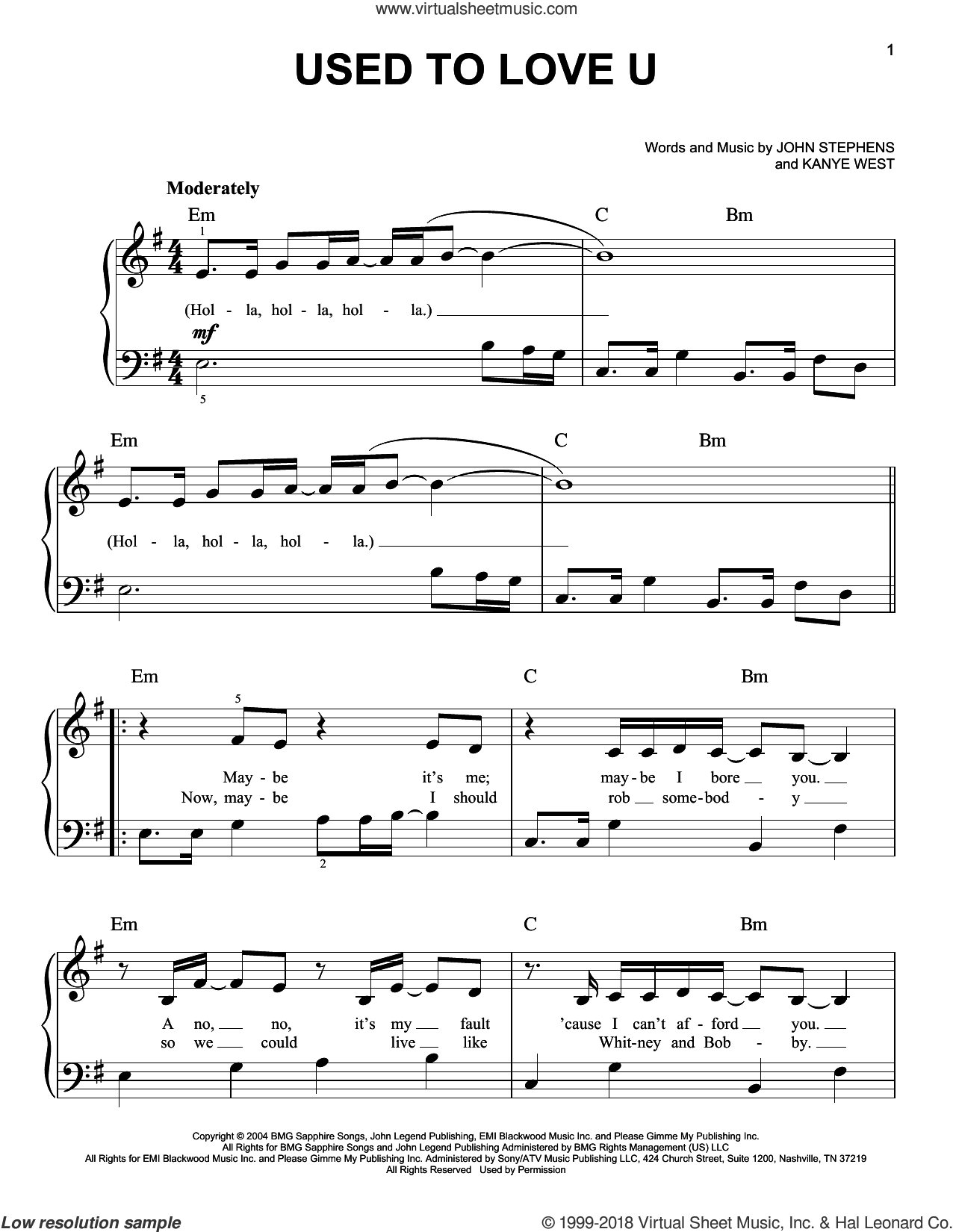 Used To Love U sheet music for piano solo by John Legend, John Stephens and Kanye West, easy skill level
