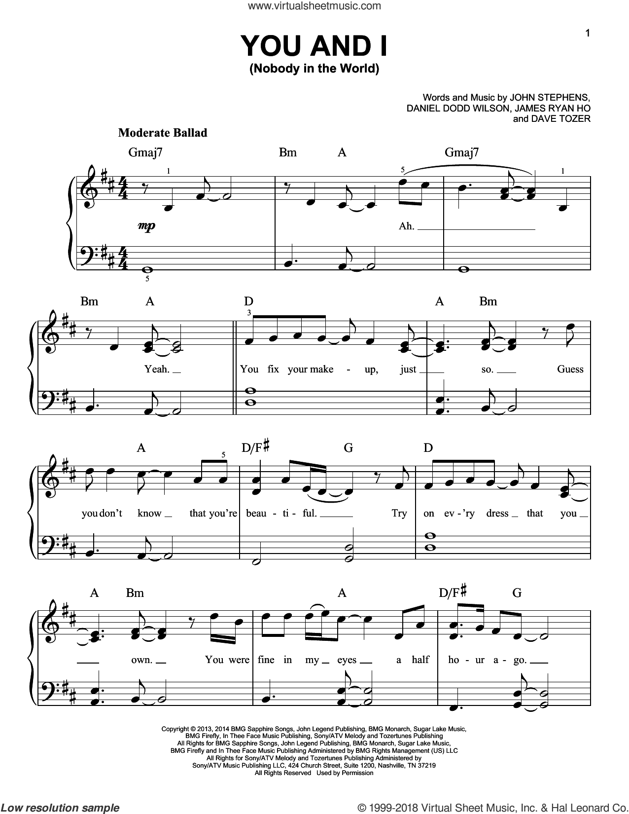 You And I (Nobody In The World) sheet music for piano solo by John Legend, easy. Score Image Preview.