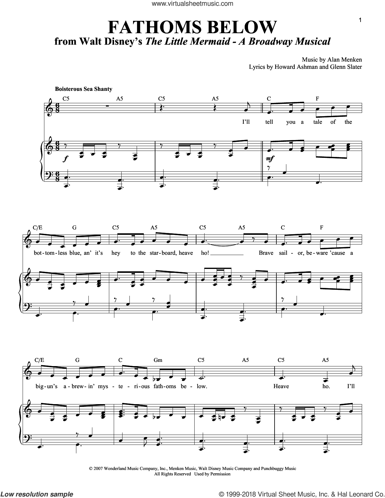Fathoms Below sheet music for voice and piano by Alan Menken, Glenn Slater and Howard Ashman. Score Image Preview.