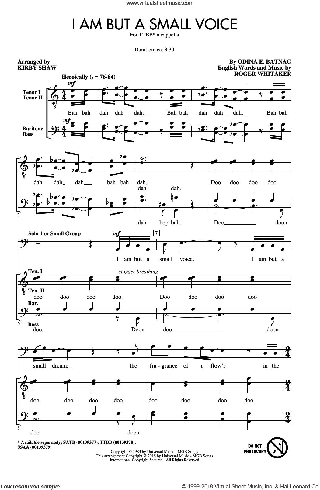 I Am But A Small Voice sheet music for choir (TTBB: tenor, bass) by Kirby Shaw, Odina E. Batnag and Roger Whitaker, intermediate skill level