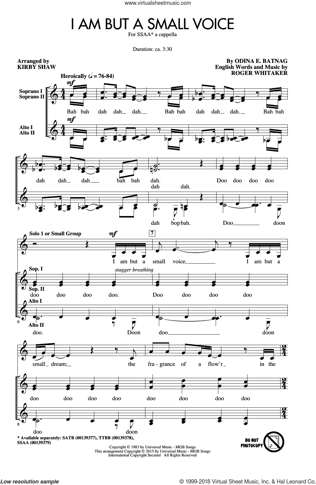 I Am But A Small Voice sheet music for choir (SSA: soprano, alto) by Kirby Shaw, Odina E. Batnag and Roger Whitaker, intermediate skill level
