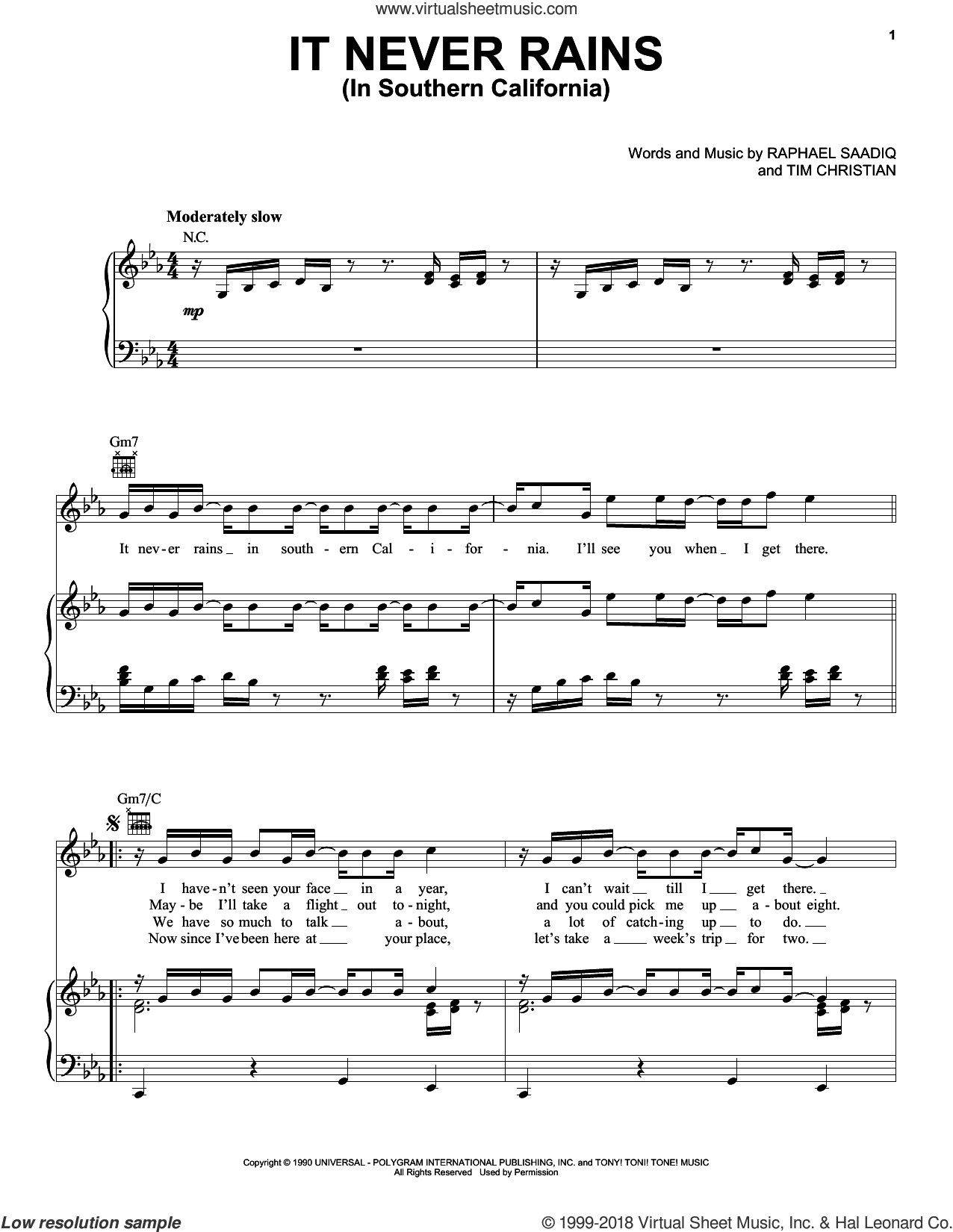It Never Rains (In Southern California) sheet music for voice, piano or guitar by Albert Hammond, Raphael Saadiq, Tim Christian and Tony! Toni! Tone!, intermediate skill level