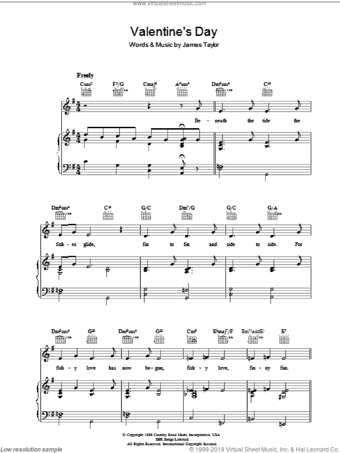 Valentine's Day sheet music for voice, piano or guitar by James Taylor. Score Image Preview.