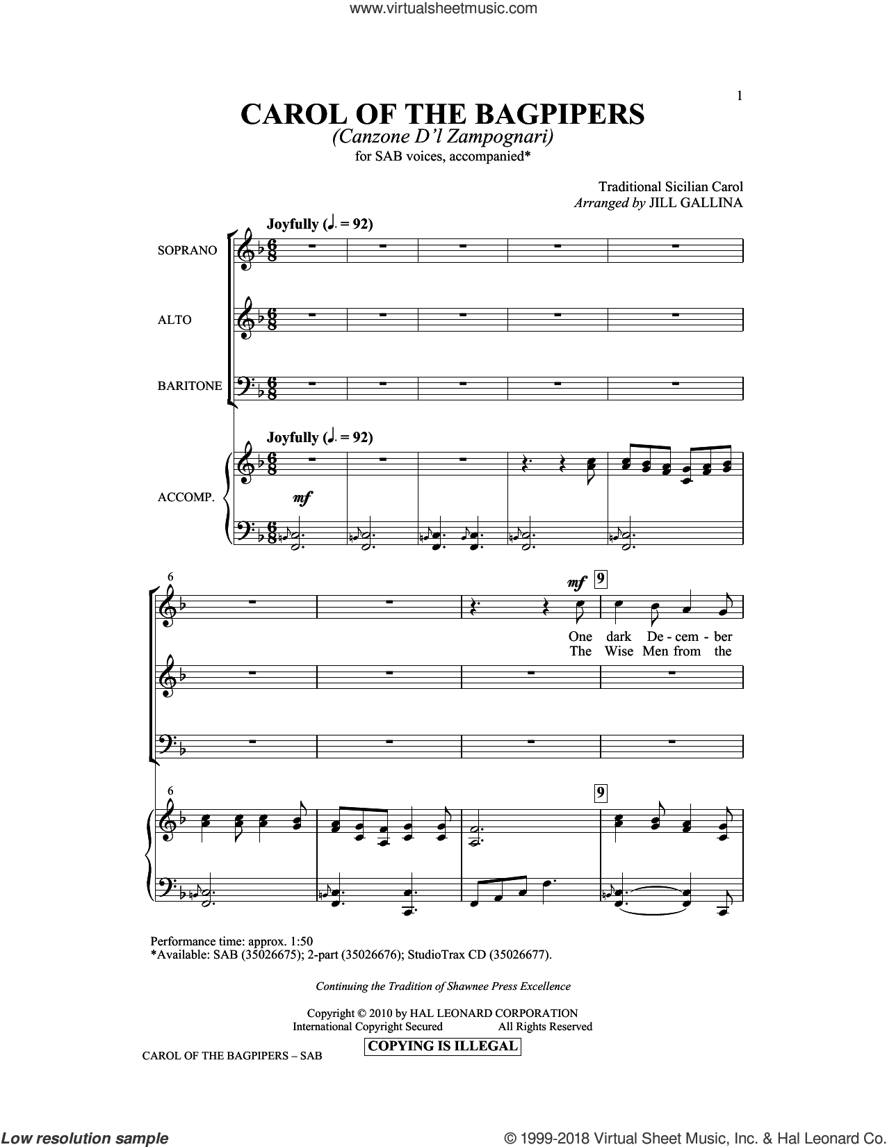 Carol Of The Bagpipers (Canzone D'l Zampognari) sheet music for choir (SAB) by Jill Gallina. Score Image Preview.