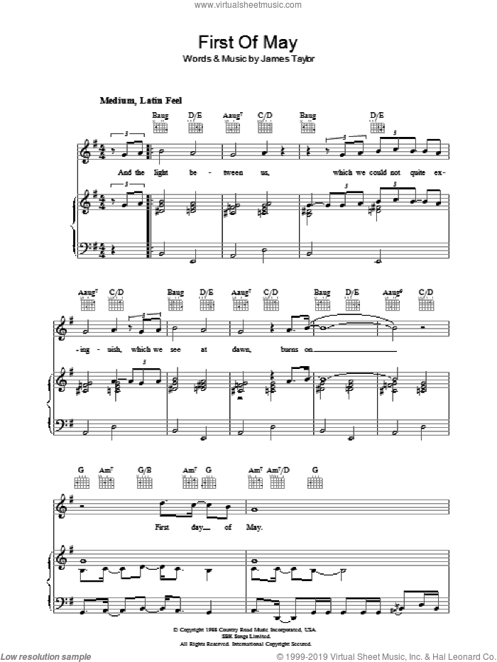 First Of May sheet music for voice, piano or guitar by James Taylor. Score Image Preview.