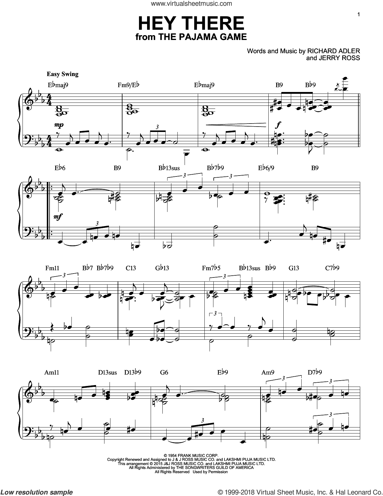 Hey There [Jazz version] (arr. Brent Edstrom) sheet music for piano solo by Jerry Ross and Richard Adler, intermediate skill level