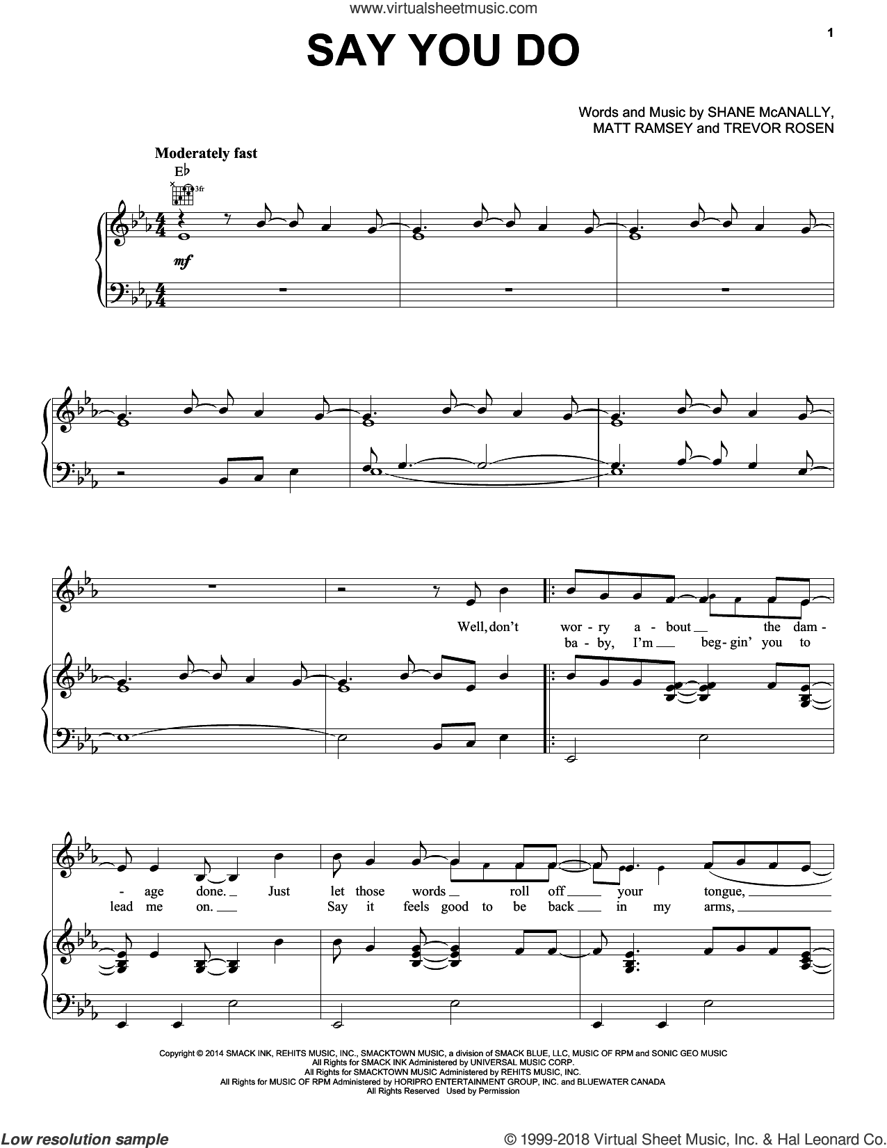 Say You Do sheet music for voice, piano or guitar by Dierks Bentley, Matthew Ramsey, Shane McAnally and Trevor Rosen, intermediate skill level