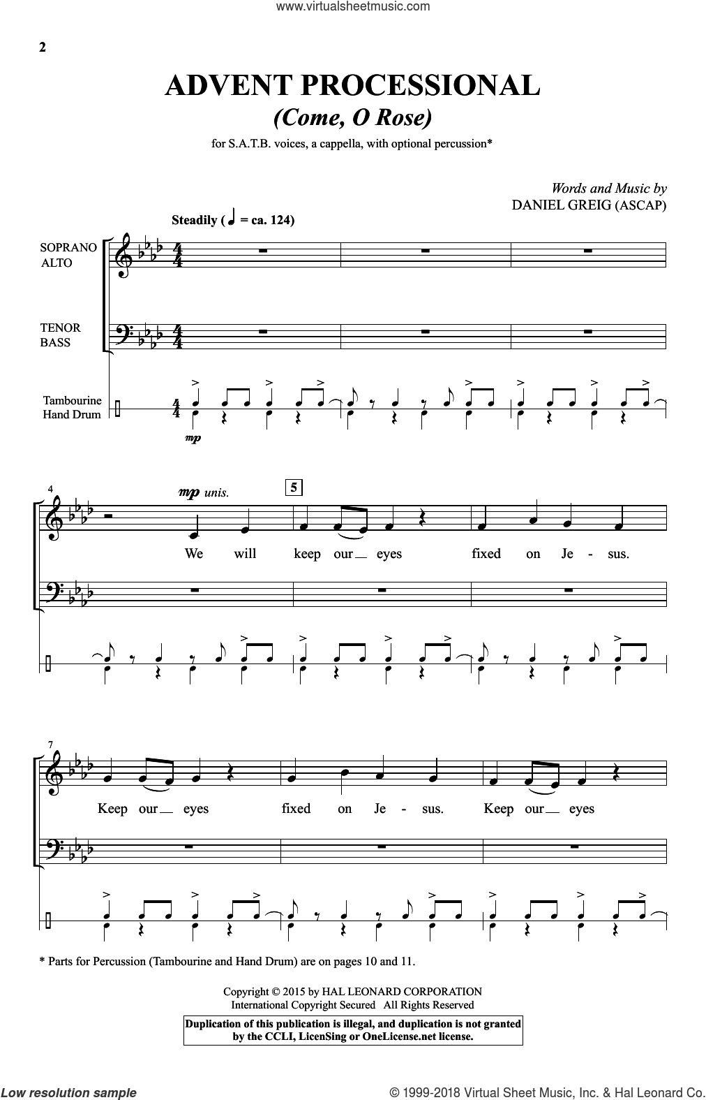 Advent Processional sheet music for choir and piano by Daniel Greig. Score Image Preview.