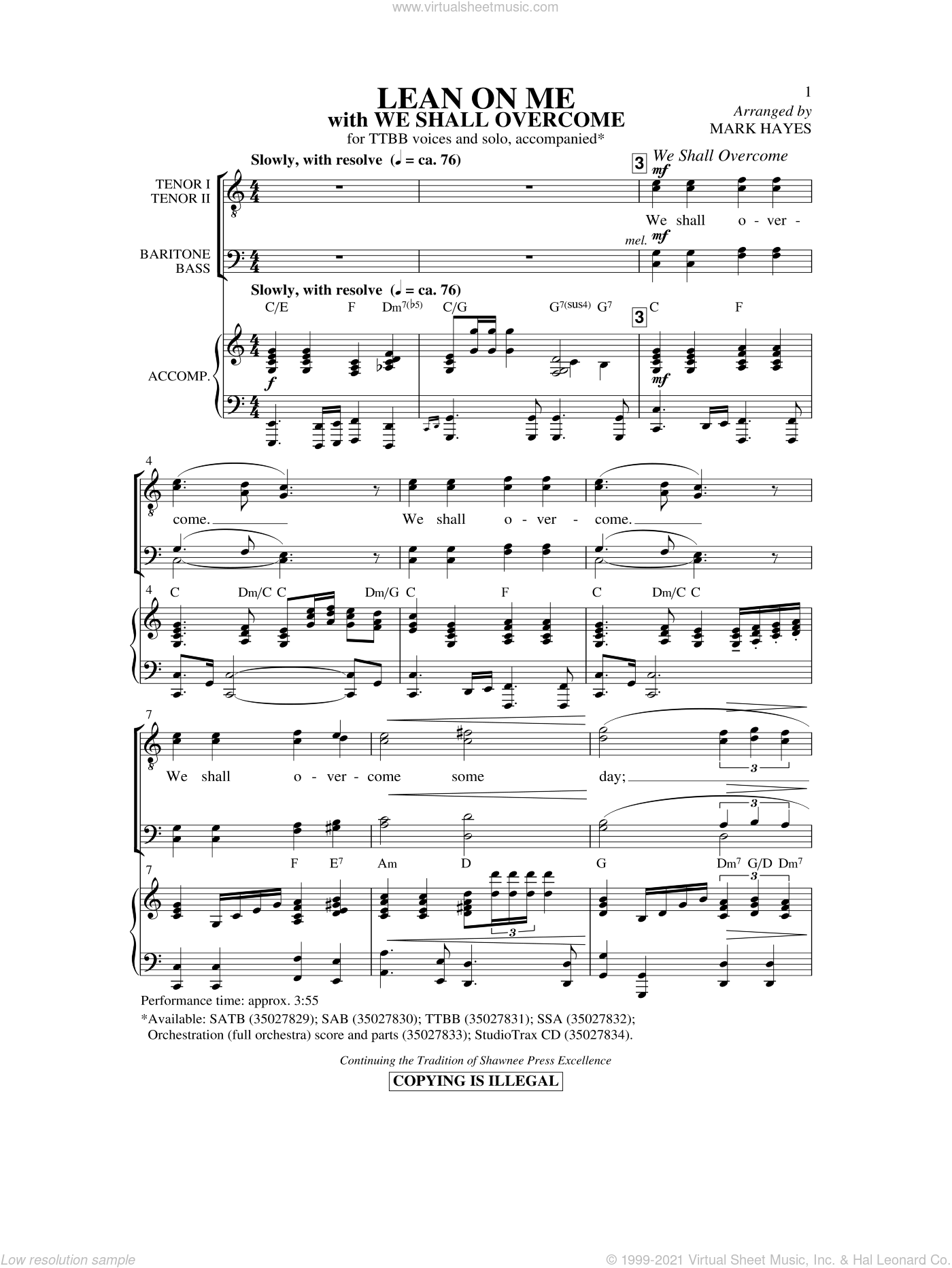 Lean On Me (with We Shall Overcome) sheet music for choir (tenor voice, bass voice, choir) by Mark Hayes and Bill Withers. Score Image Preview.