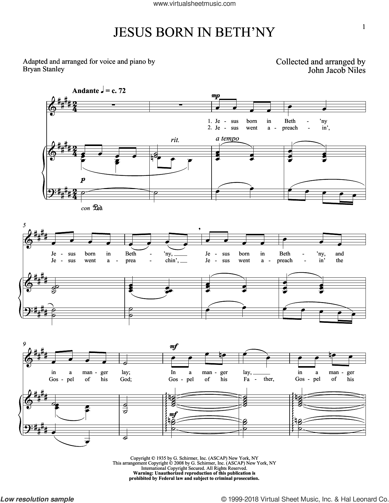 Jesus Born In Beth'ny sheet music for voice and piano (High Voice) by John Jacob Niles, intermediate skill level
