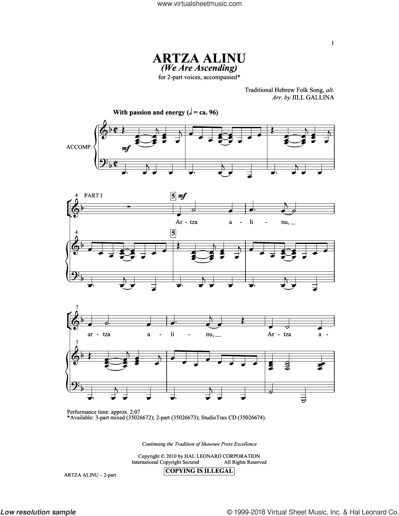 Artza Alinu sheet music for choir and piano (duets) by Jill Gallina. Score Image Preview.