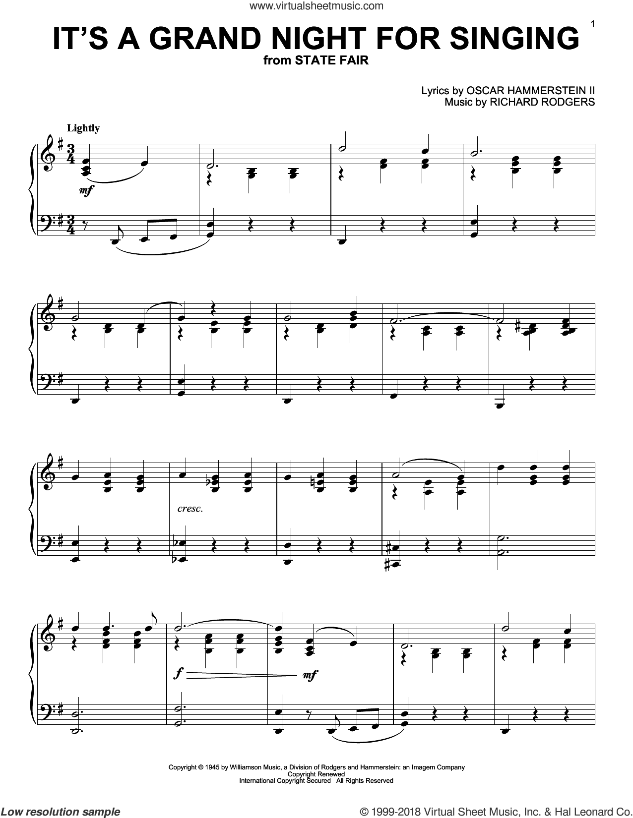 It's A Grand Night For Singing sheet music for piano solo by Rodgers & Hammerstein, Oscar II Hammerstein and Richard Rodgers, intermediate skill level