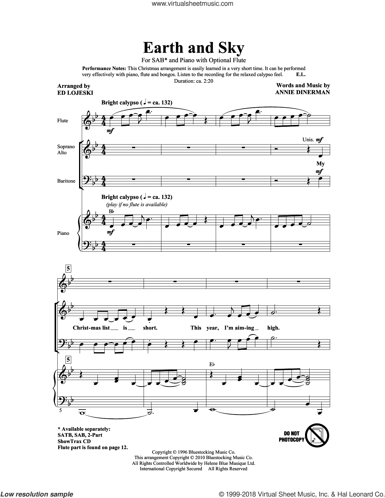 Earth And Sky sheet music for choir (SAB: soprano, alto, bass) by Ed Lojeski and Annie Dinerman, intermediate skill level