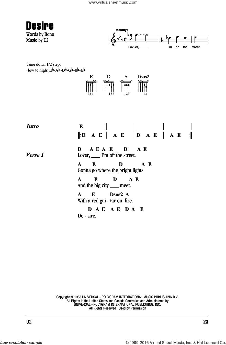 Desire sheet music for guitar (chords) by U2 and Bono, intermediate skill level