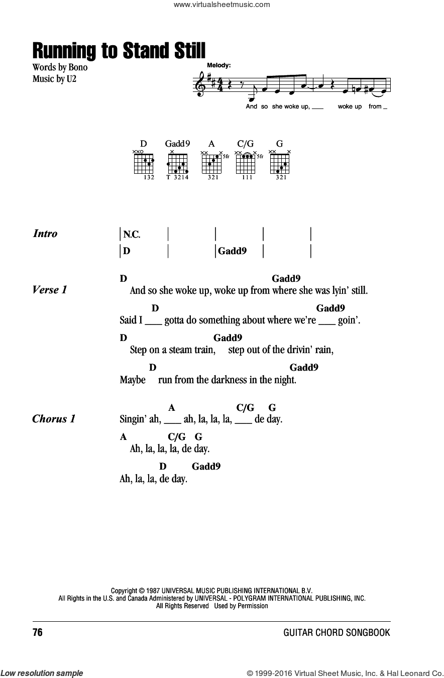 U2 Running To Stand Still Sheet Music For Guitar Chords Pdf