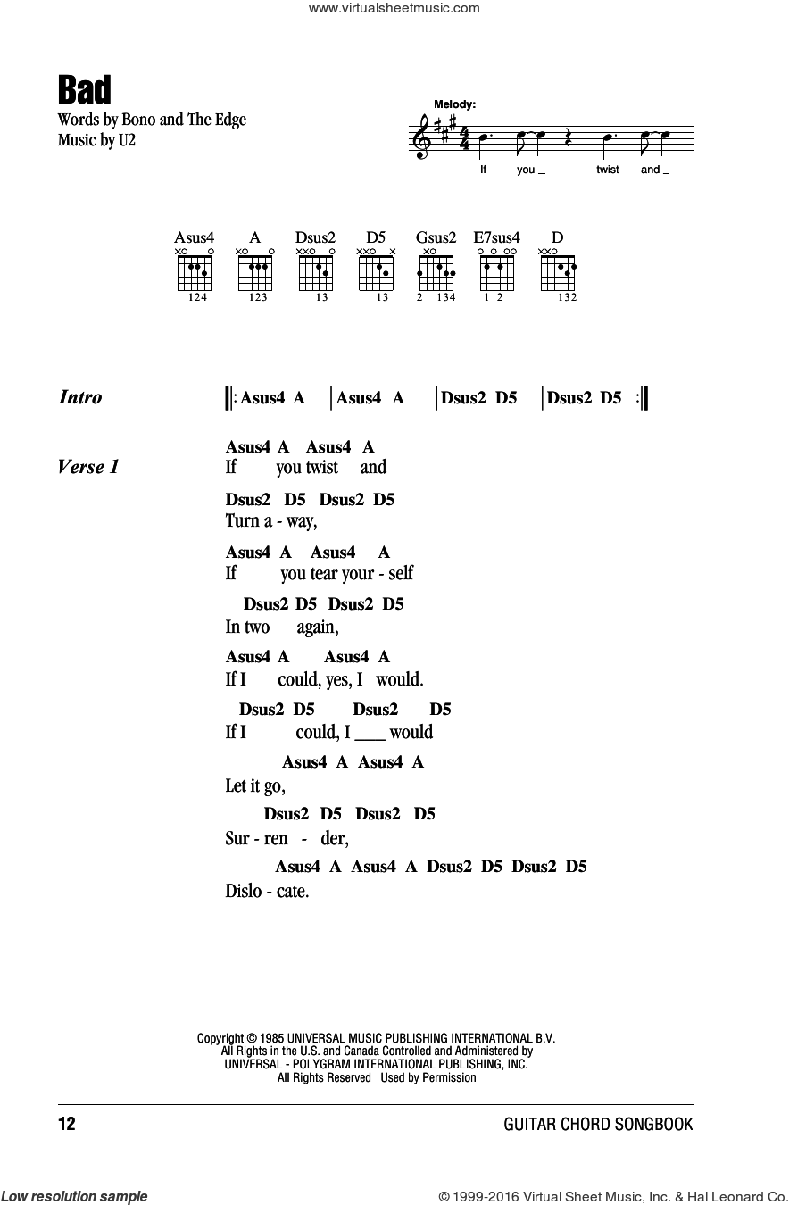 Bad sheet music for guitar (chords) by The Edge