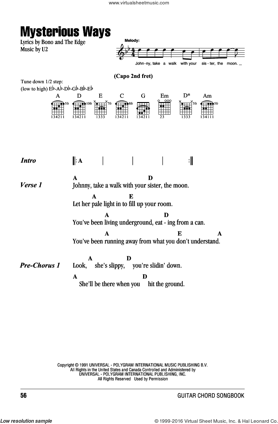 Mysterious Ways sheet music for guitar (chords) by U2 and Bono, intermediate. Score Image Preview.