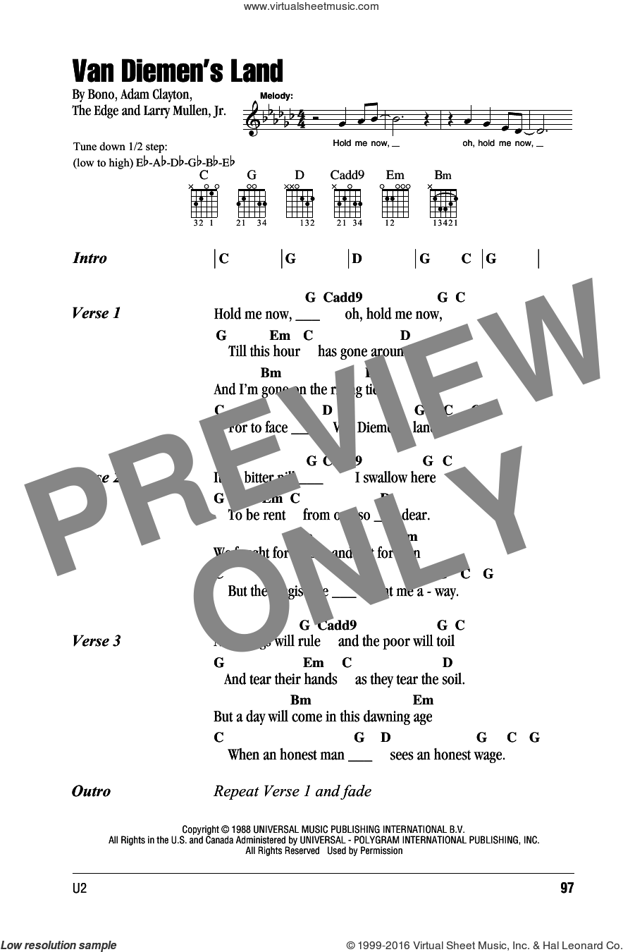 Van Diemen's Land sheet music for guitar (chords) by The Edge, Adam Clayton, Bono and U2. Score Image Preview.
